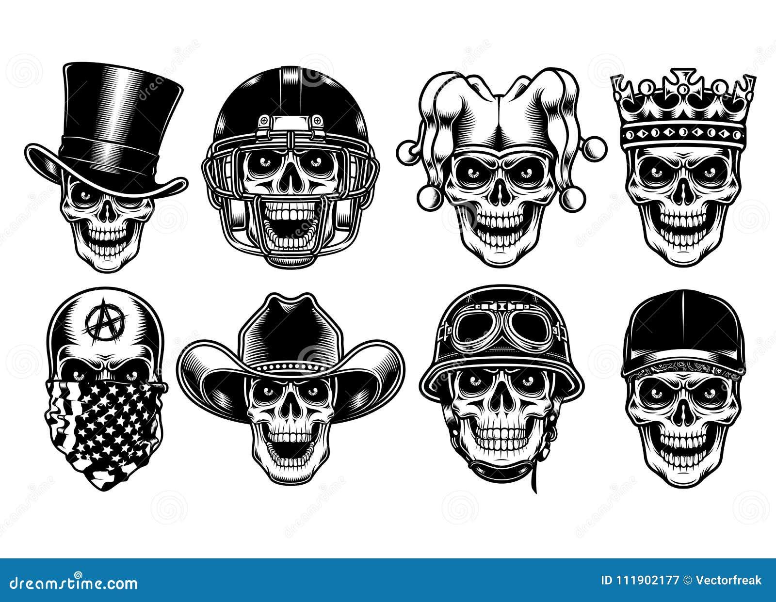 Sistema de caracteres del cráneo aislados en el fondo blanco