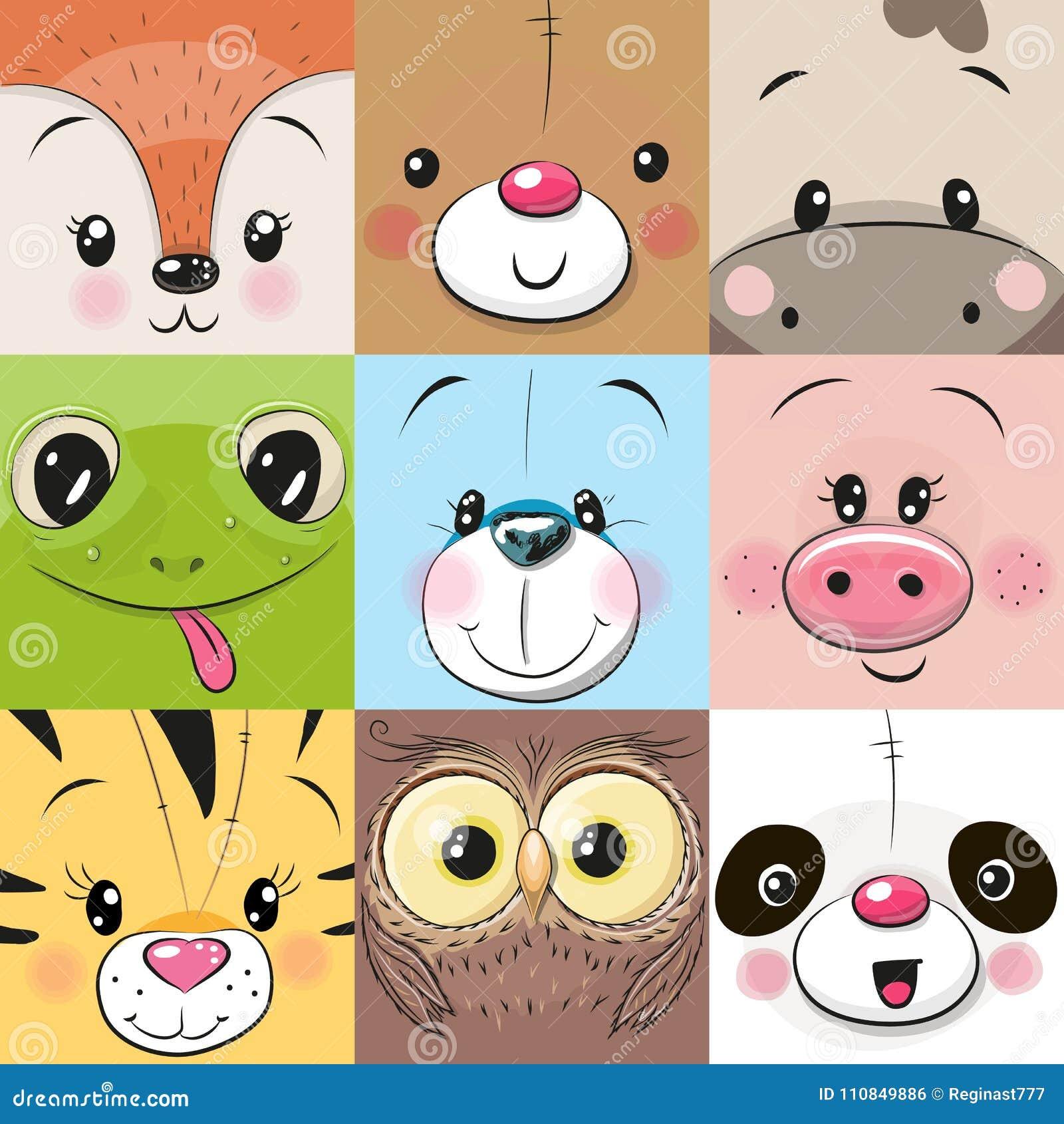 Sistema de caras lindas de los animales