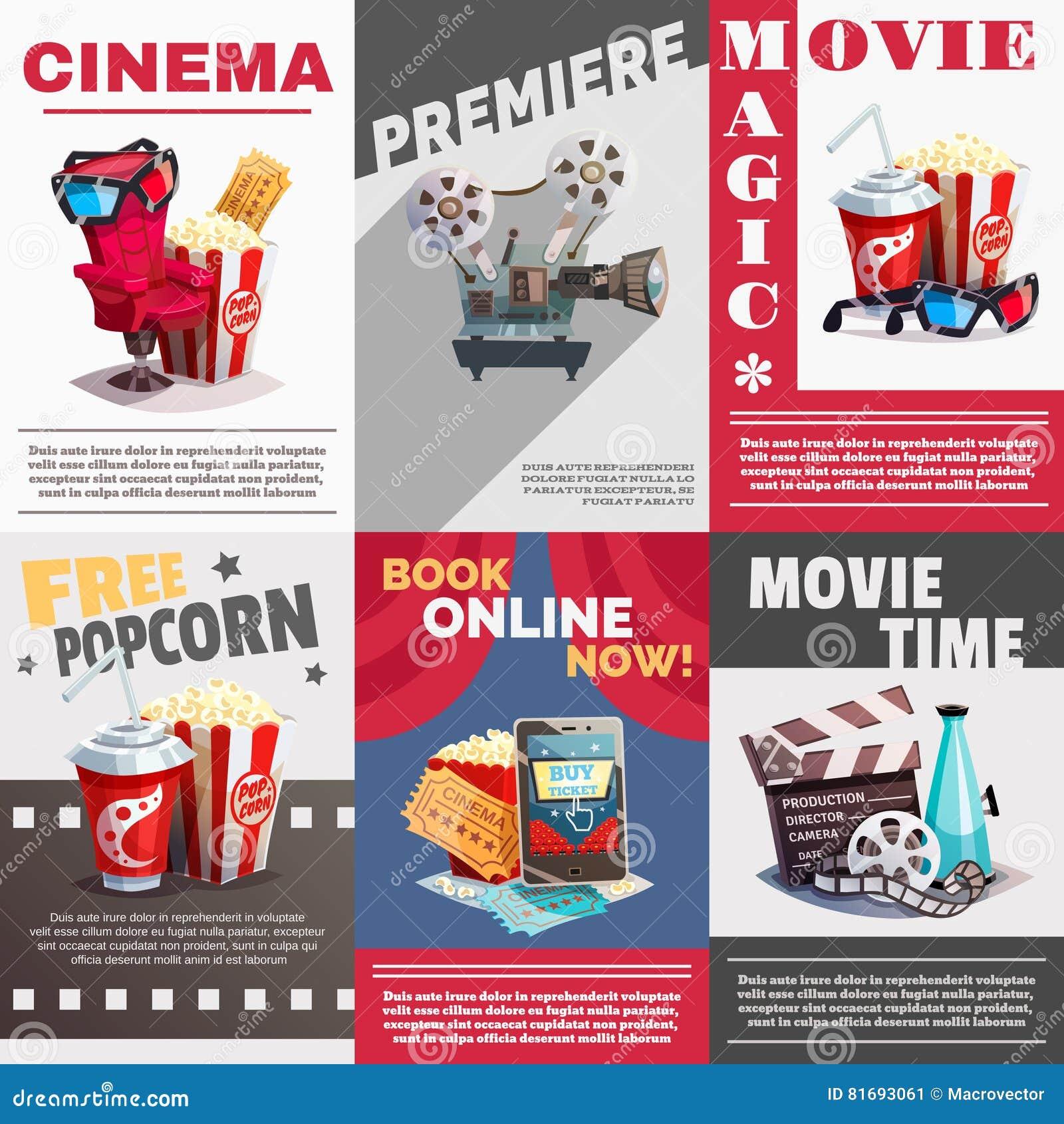 Sistema de carteles del cine con la publicidad de la premier