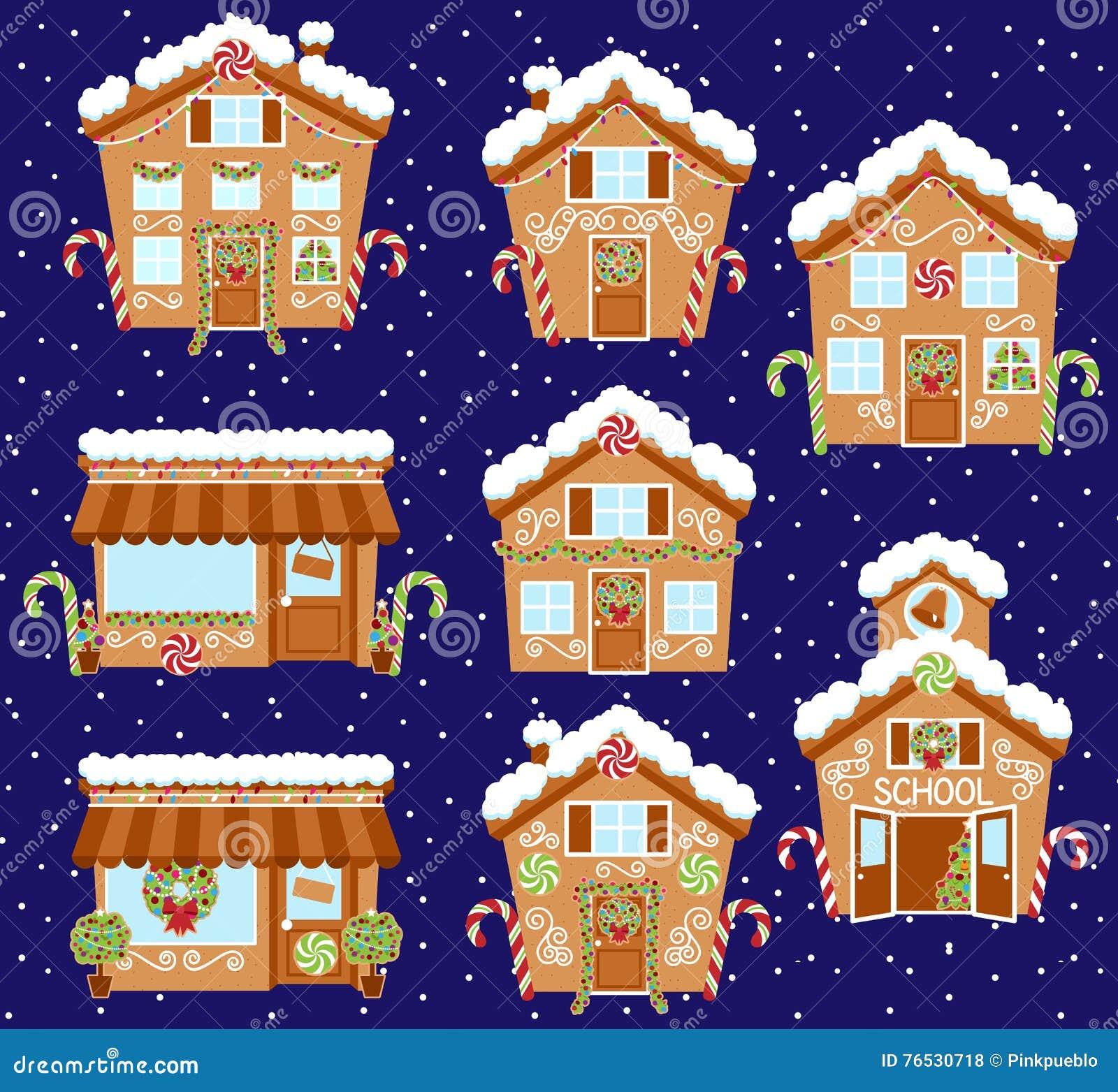 Sistema de casas de pan de jengibre lindas del día de fiesta del vector, de tiendas y de otros edificios