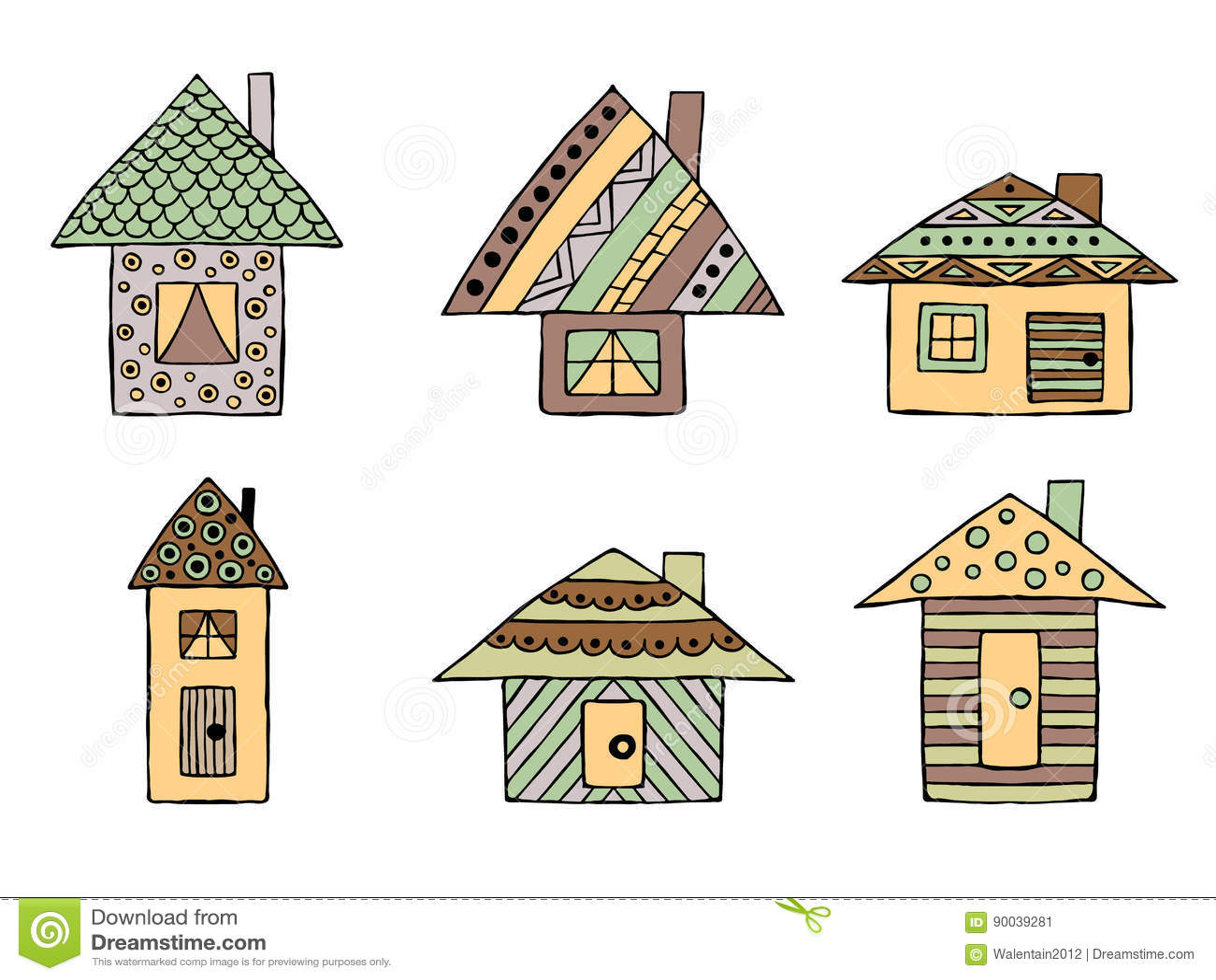 Sistema De Casas Infantiles Estilizadas Decorativas Dibujadas Mano