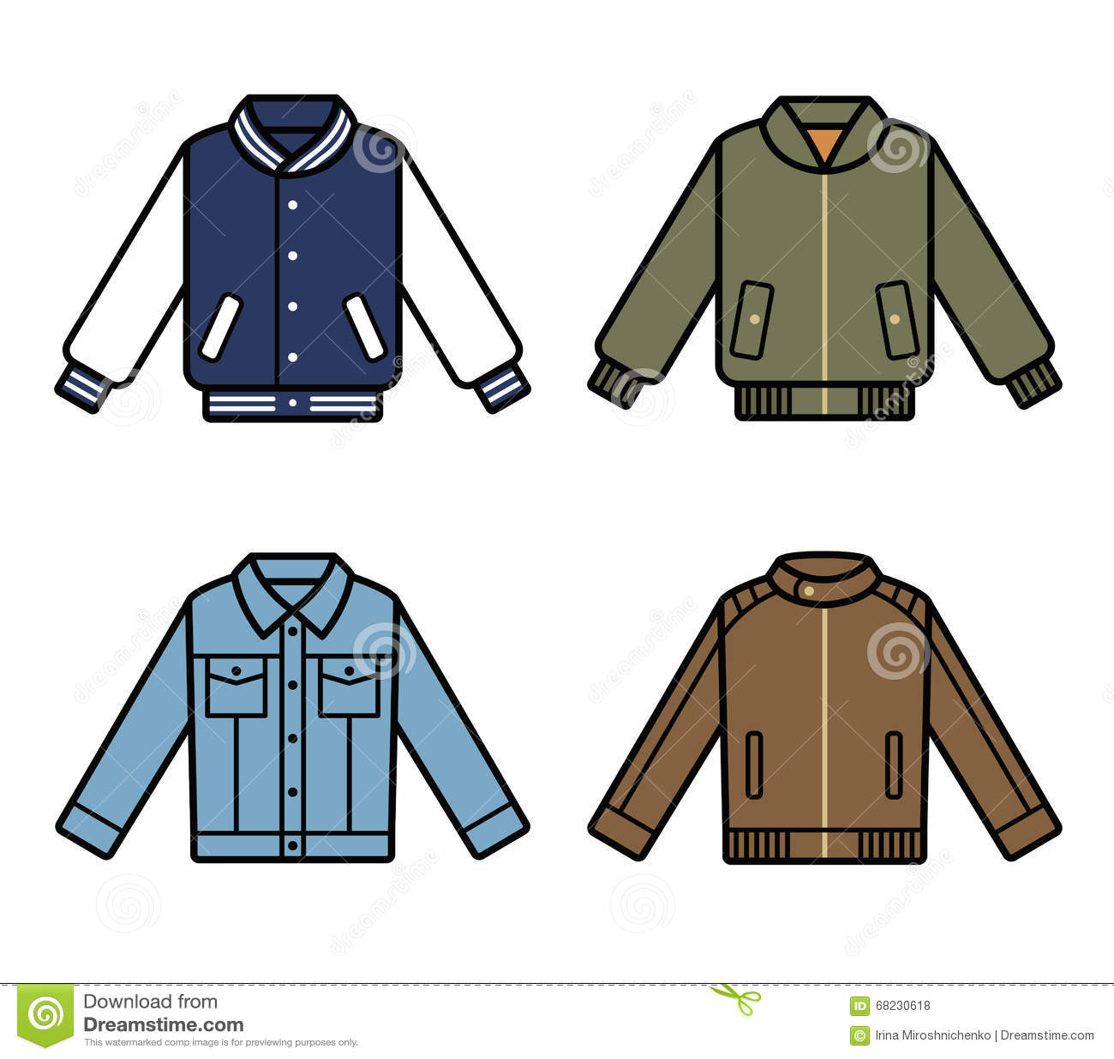 c9d56006b2395 Iconos de las chaquetas del vector Sistema para hombre del ejemplo de la  moda