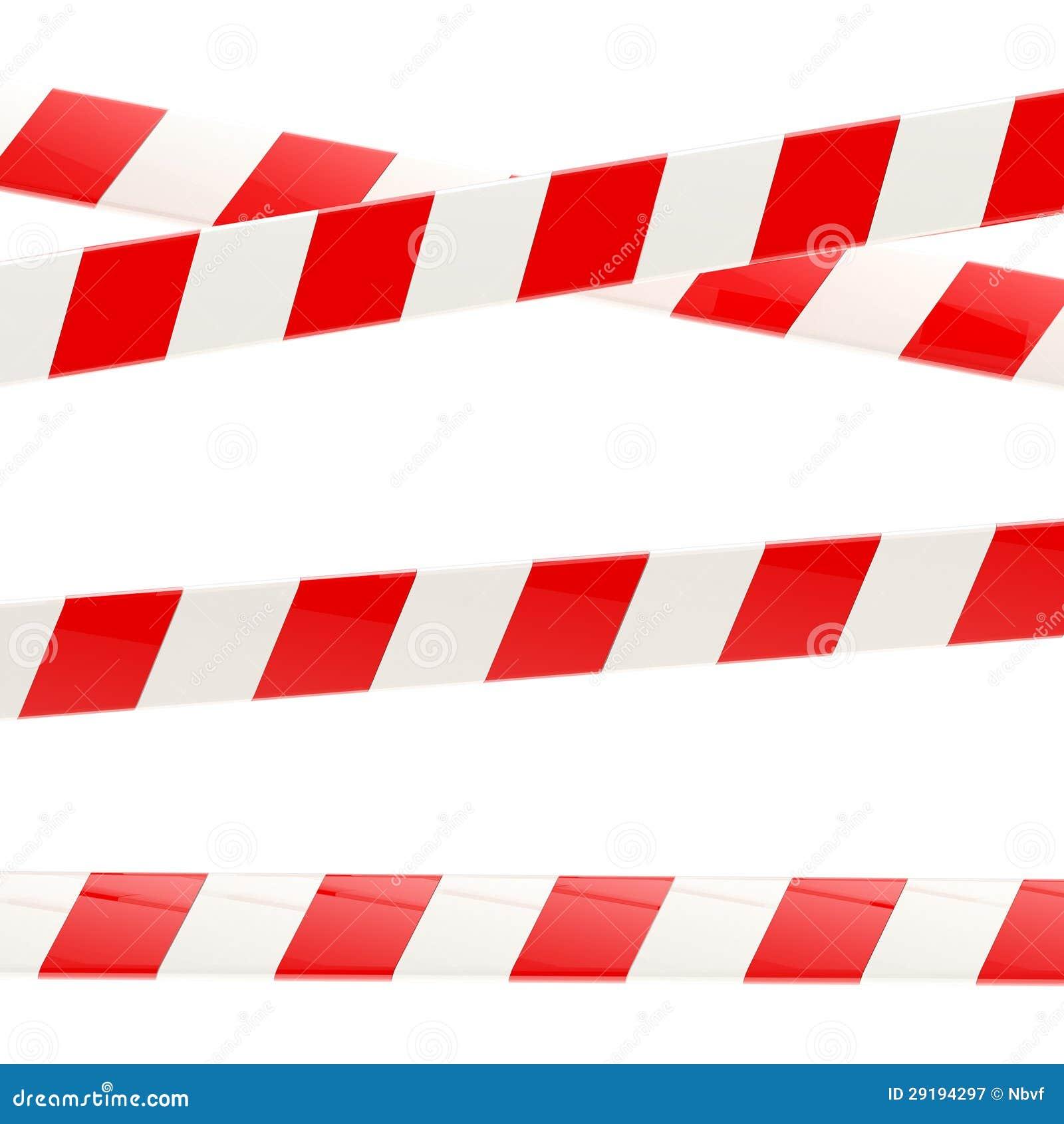 Sistema de cintas brillantes rojas y blancas de la barrera