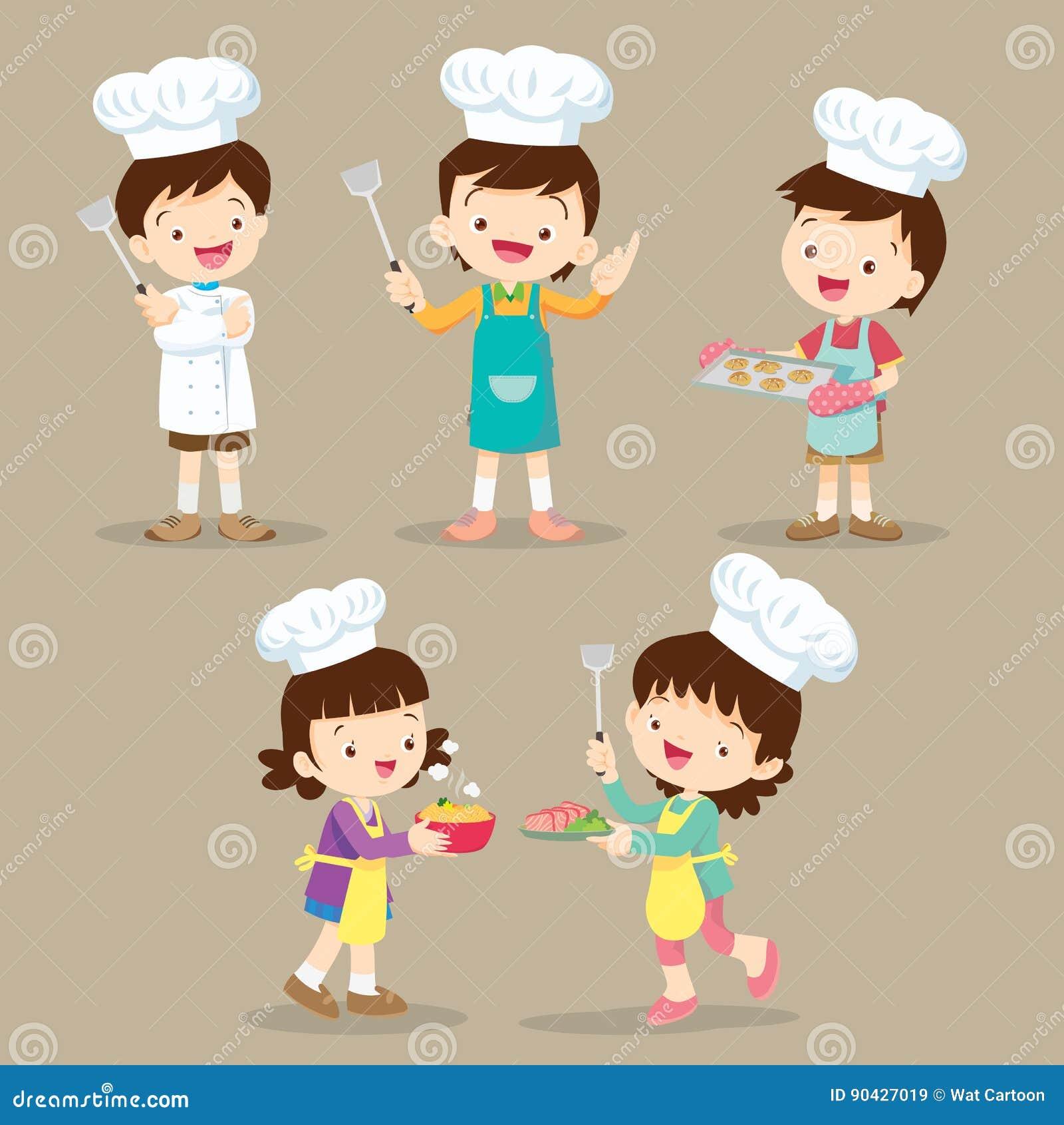 Sistema De Cocinar De Los Niños Ilustración Del Vector Ilustración