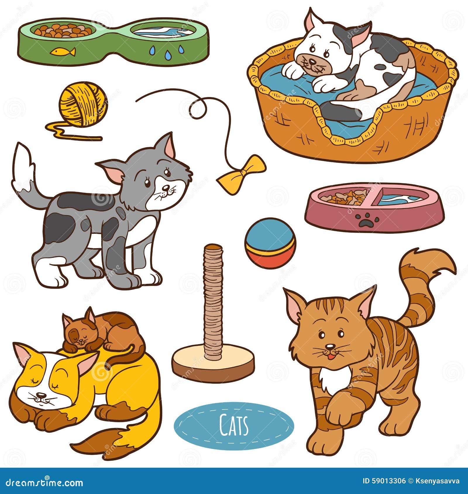 Sistema De Color De Animales Domésticos Y De Objetos Lindos ...