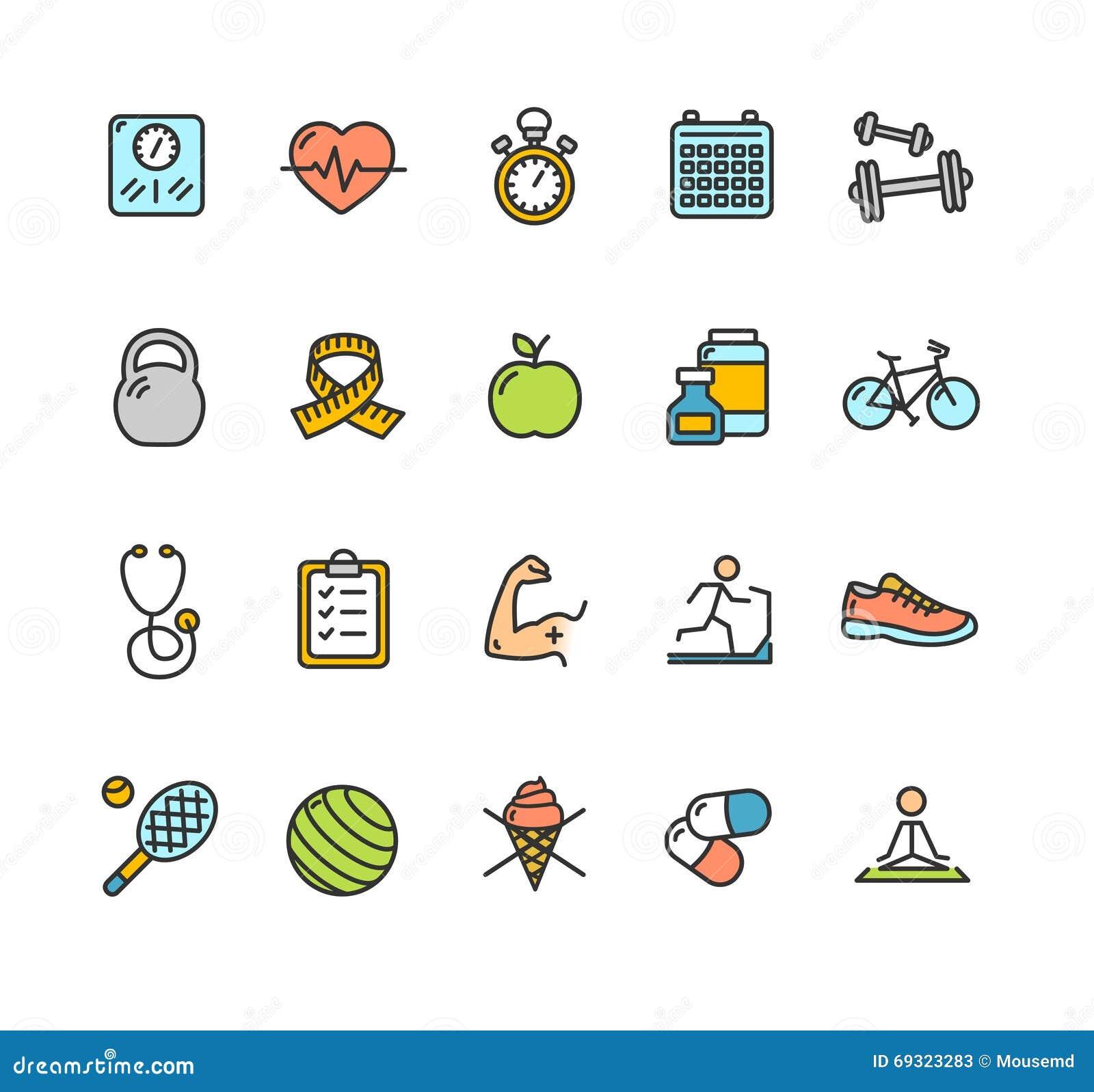 Sistema de color del icono de la aptitud de la salud Vector