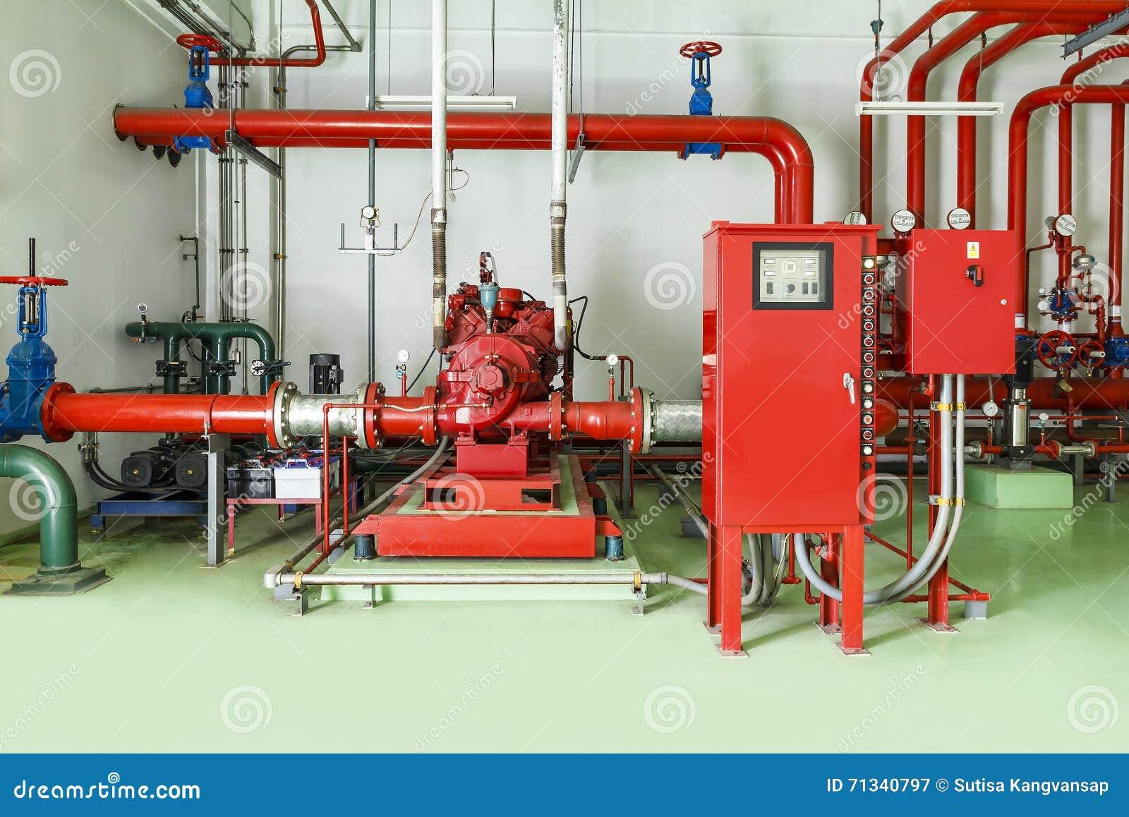 Sistema de combate do sistema de extinção de incêndios e do alarme de incêndio da água
