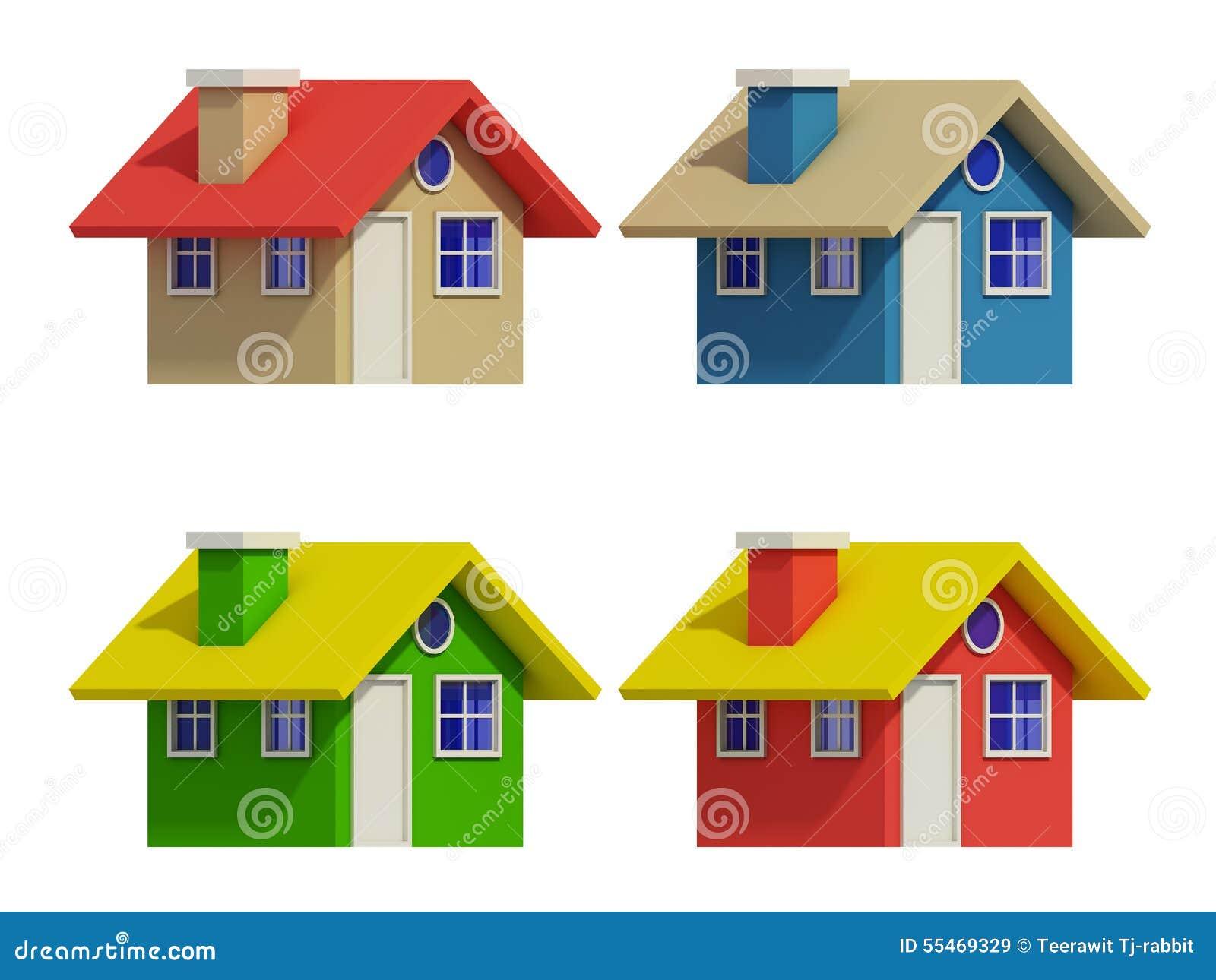 Sistema de cuatro casas con los cambios del color stock de for Imagen de lavaderos para casas