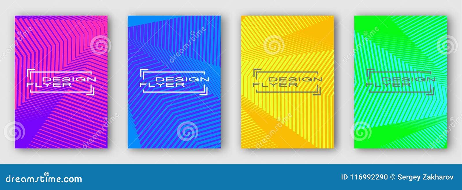 Sistema de cuatro folletos, carteles, aviadores Líneas geométricas coloreadas multi con las curvas Verde anaranjado azul púrpura