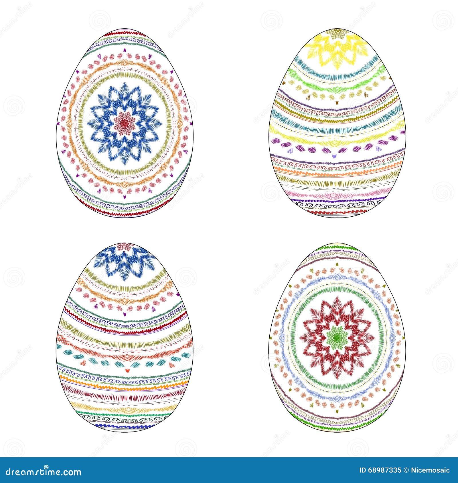 Sistema de cuatro huevos de Pascua pintados a mano coloridos con golpeteo étnico
