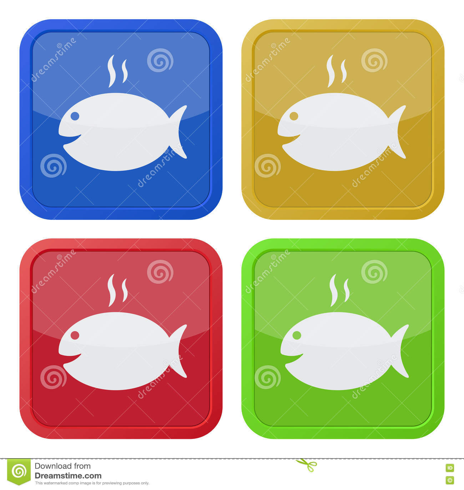 Sistema de cuatro iconos cuadrados - asado a la parilla de pescados y de humo