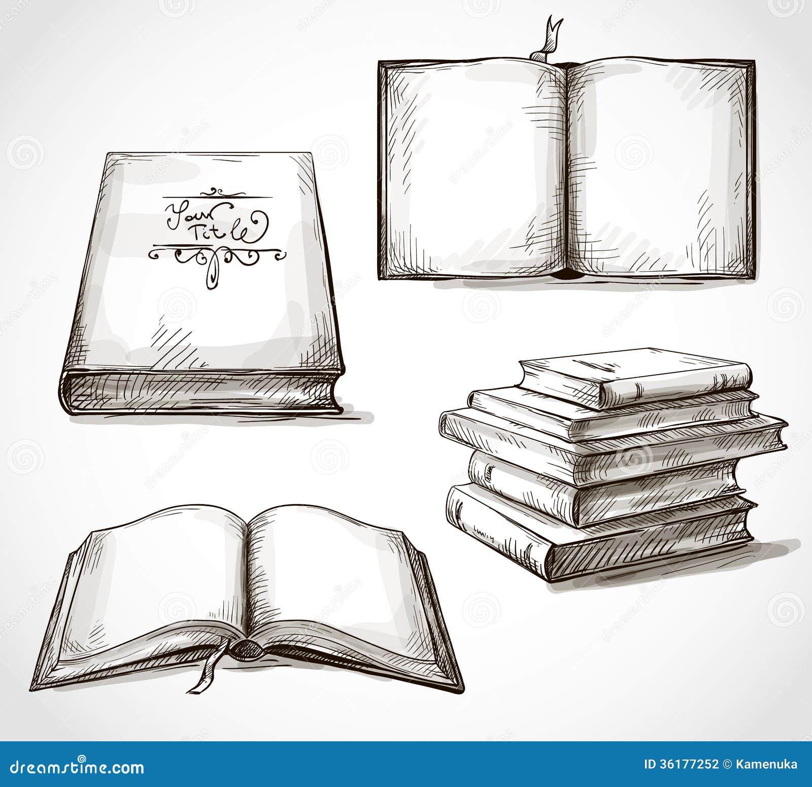 Sistema De Dibujos De Los Libros Viejos Ilustración Del Vector