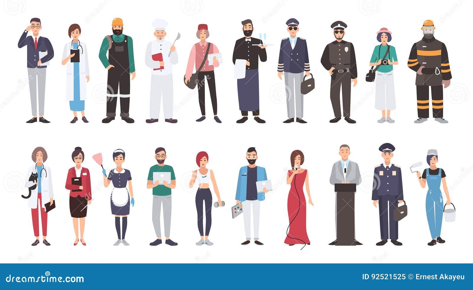 Sistema de diversa profesión de la gente Ejemplo plano Encargado, doctor, constructor, cocinero, cartero, camarero, piloto, polic
