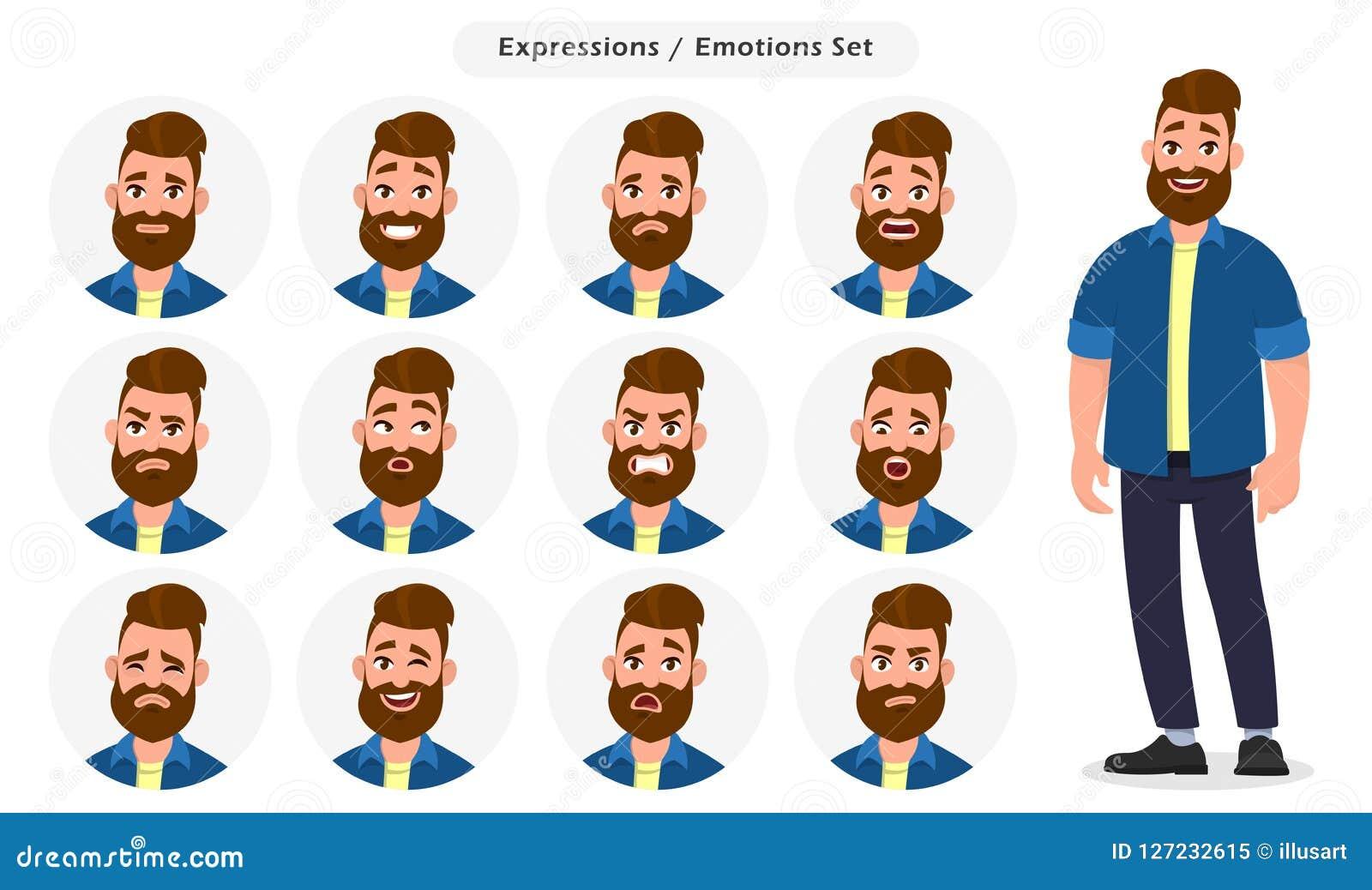 Sistema de diversas expresiones faciales masculinas Carácter del emoji del hombre con diversas emociones Emociones e illustra del