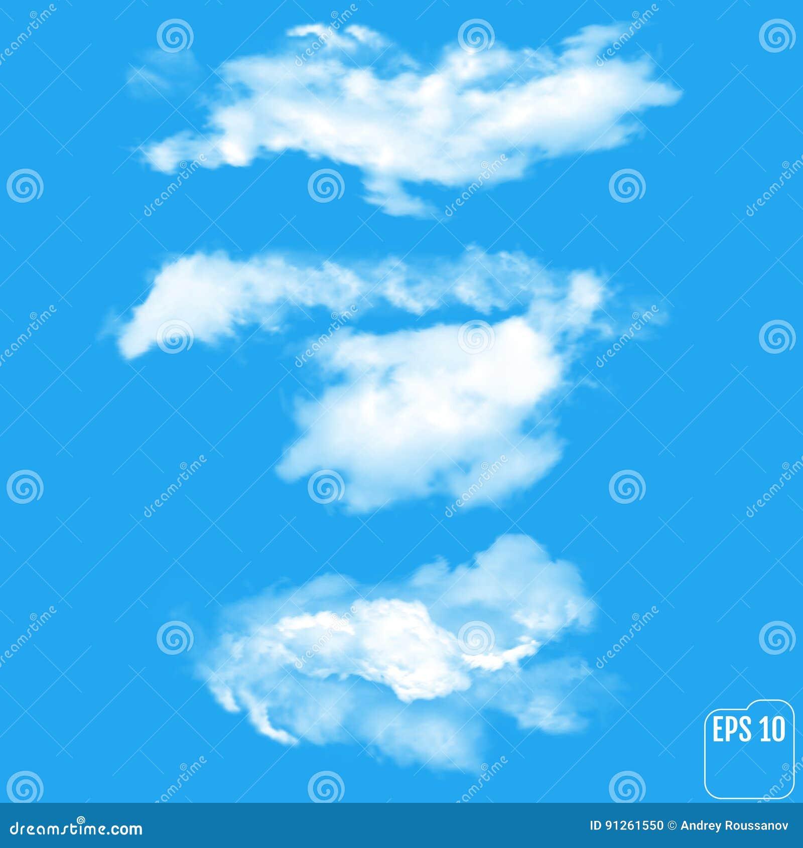 Sistema de diversas nubes transparentes Ilustración del vector