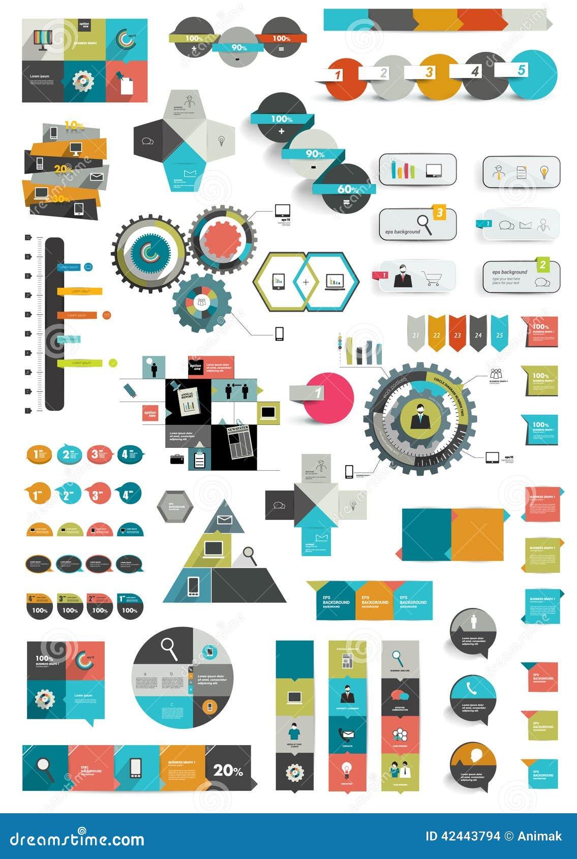 Sistema de diversas plantillas infographic planas