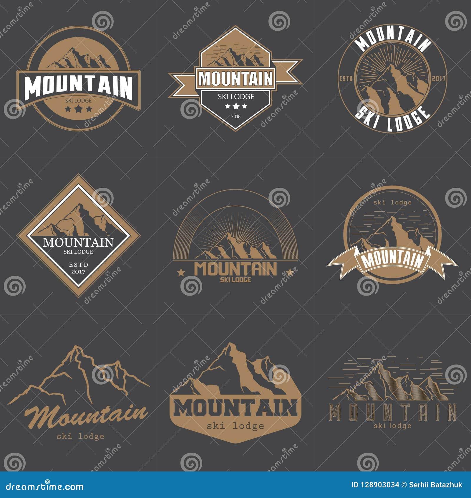 Sistema de diverso ejemplo del vector del emblema del logotipo de las montañas del vintage Montañas e icono del viaje para las or