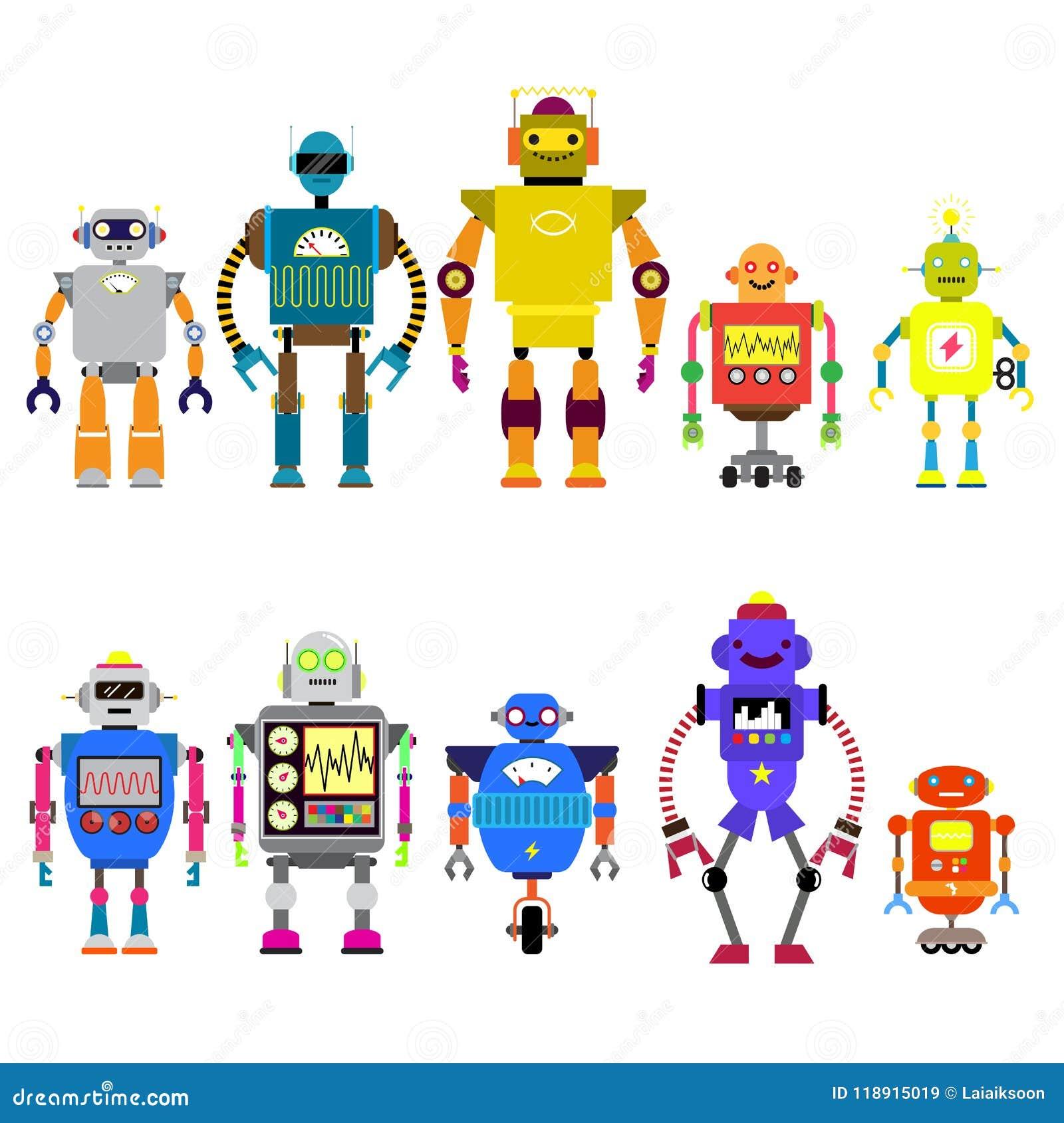 Sistema de diversos caracteres de los robots de la historieta, línea estilo de los iconos del cyborg del astronauta aislados en e