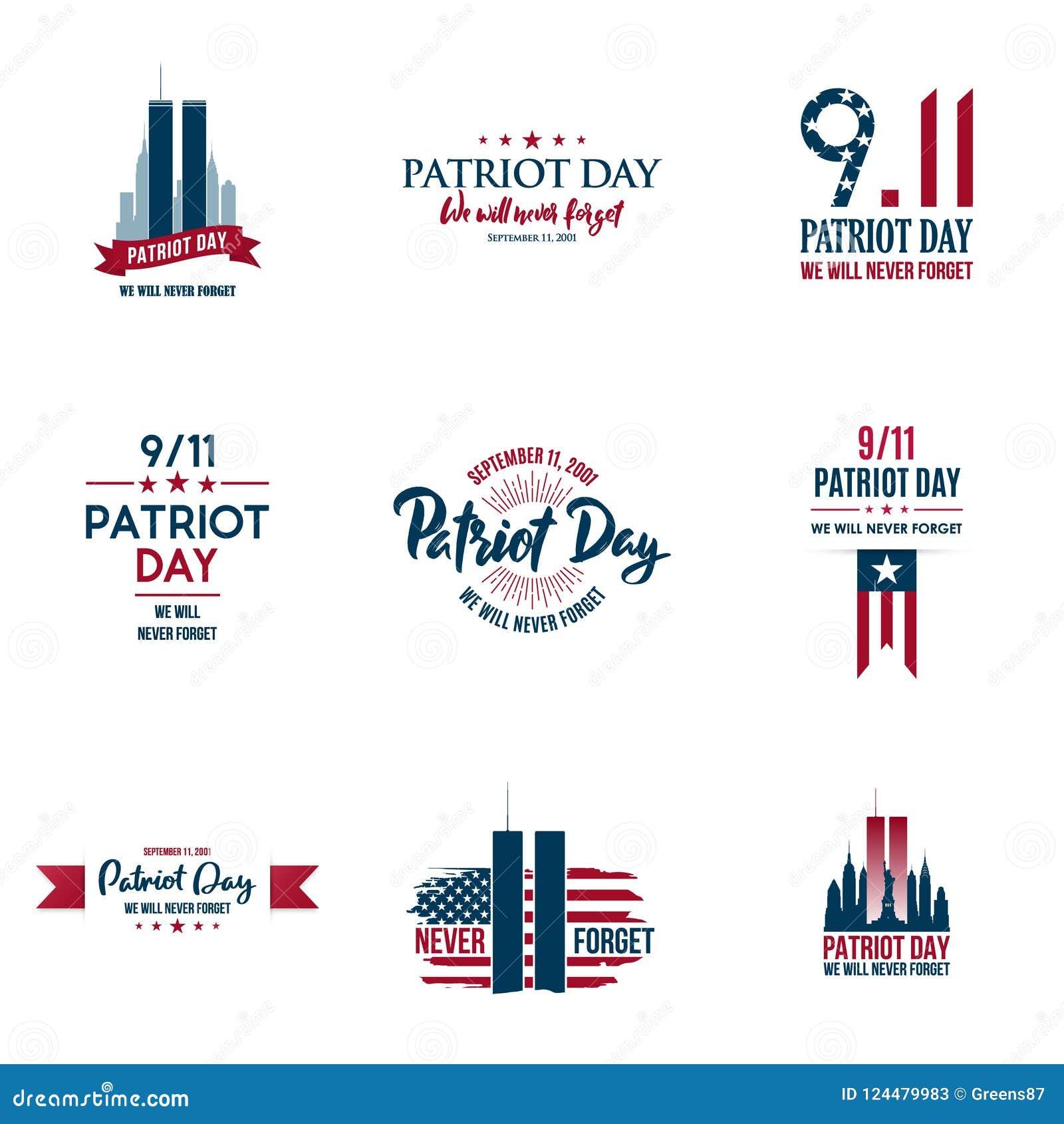 Sistema de diversos gráficos, tarjetas y banderas, emblemas, símbolos, iconos e insignias del día del patriota