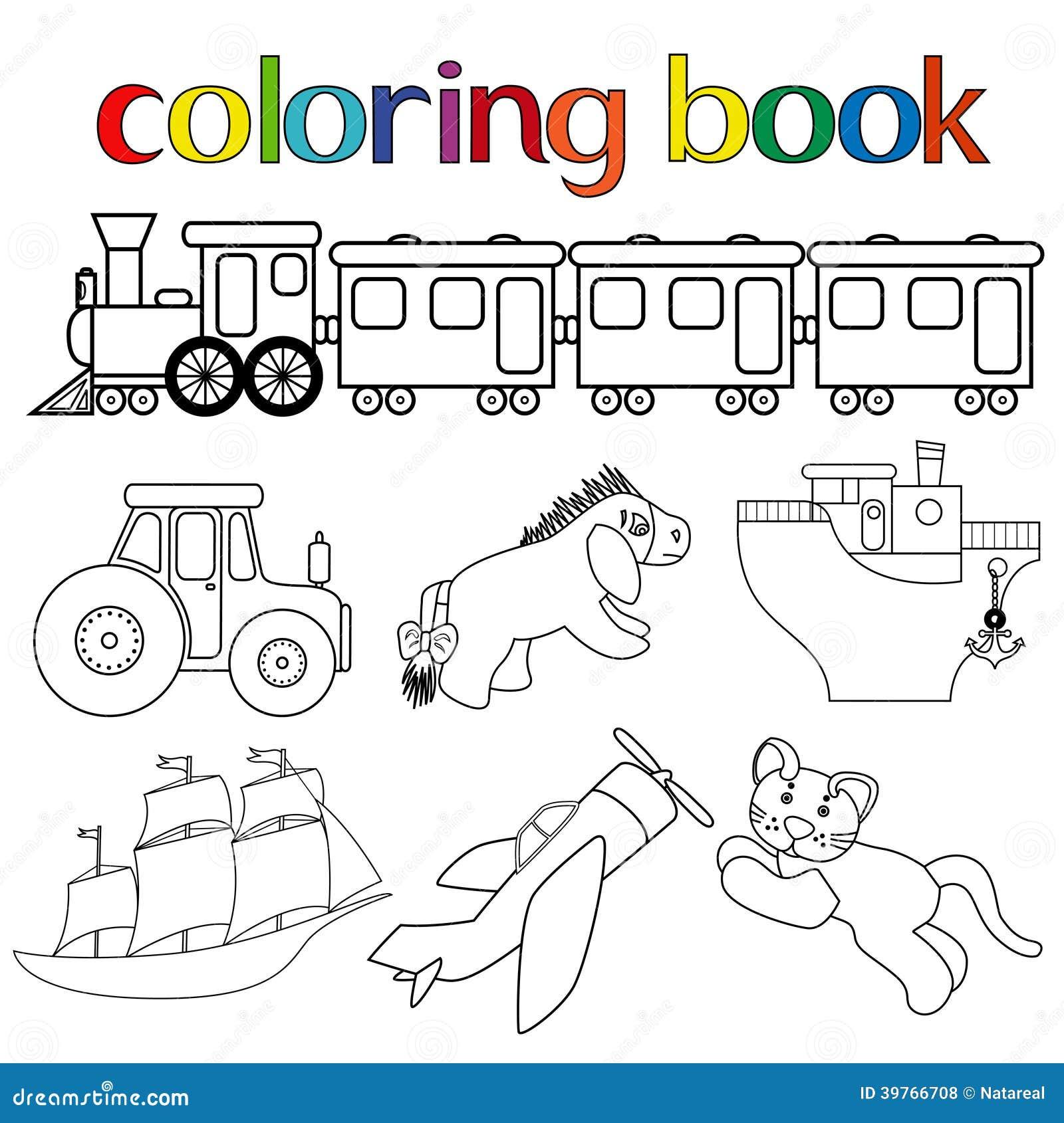Sistema De Diversos Juguetes Para El Libro De Colorear Ilustración