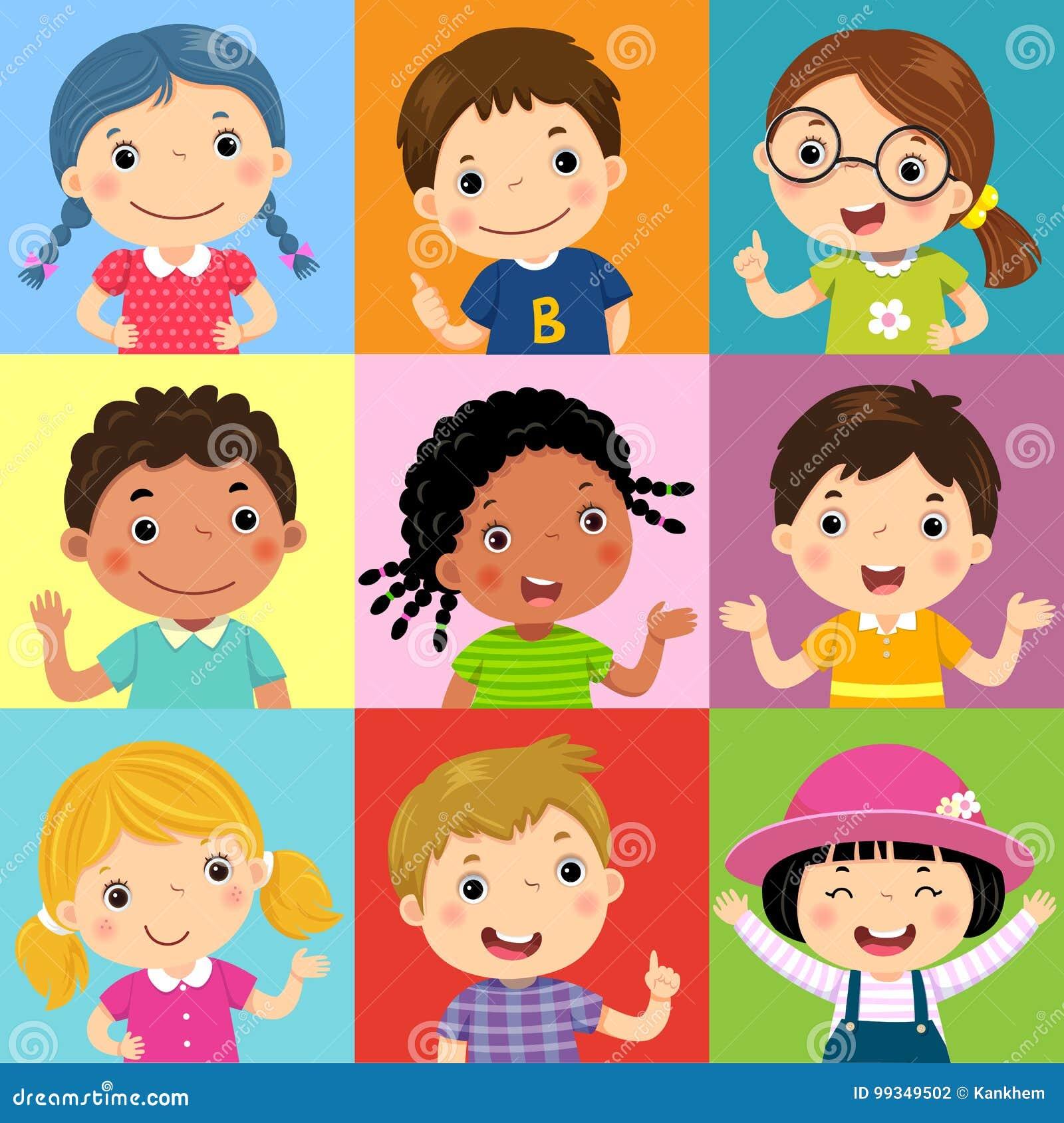 Sistema de diversos niños con diversas posturas