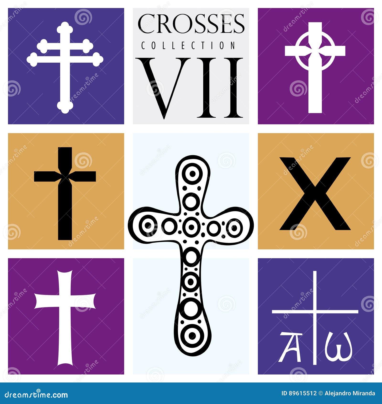 Tipos De Cruces sistema de diversos tipos de cruces en fondo púrpura ilustración del