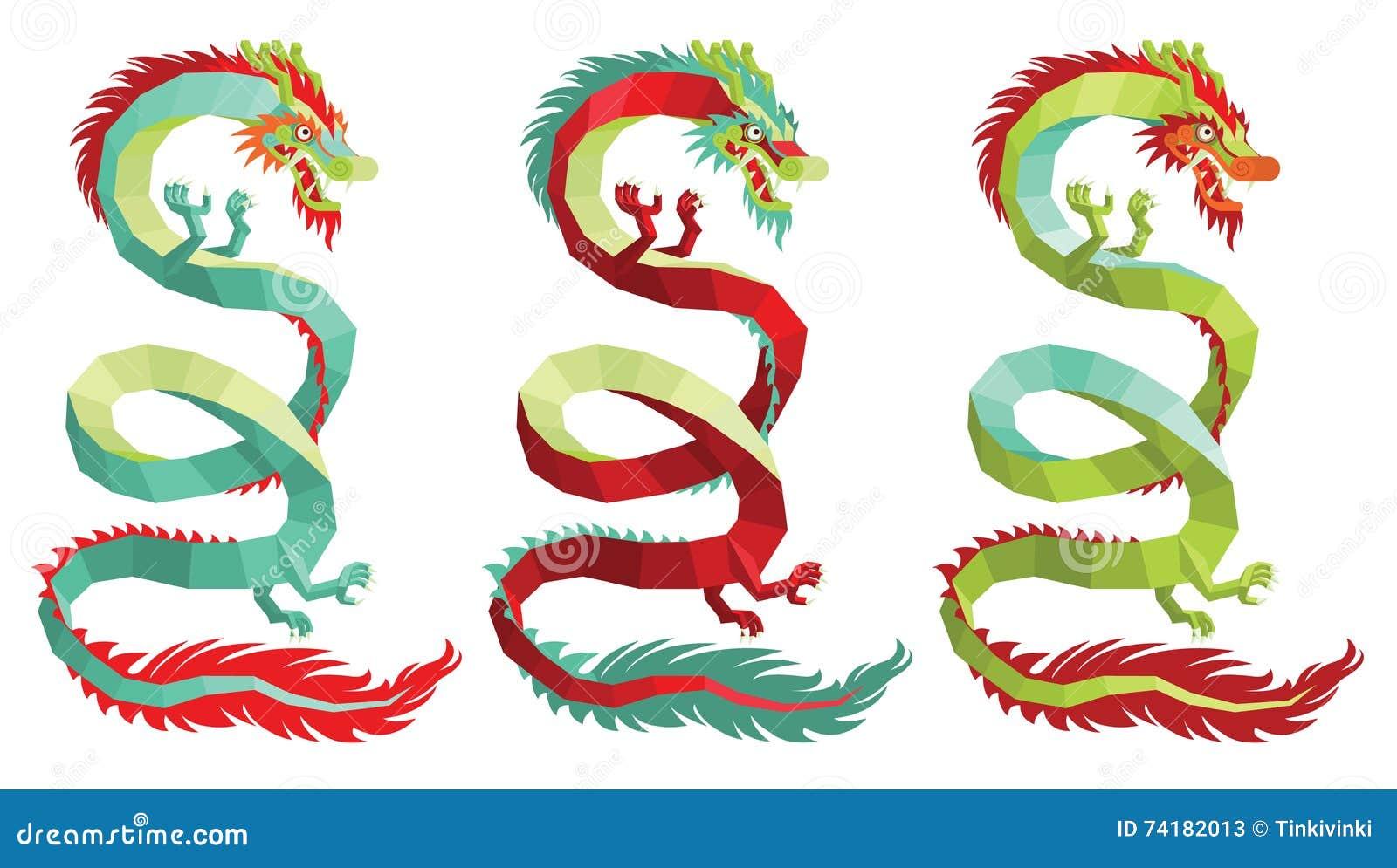 Sistema De Dragones Chinos Poligonales Del Vector Ilustración Del