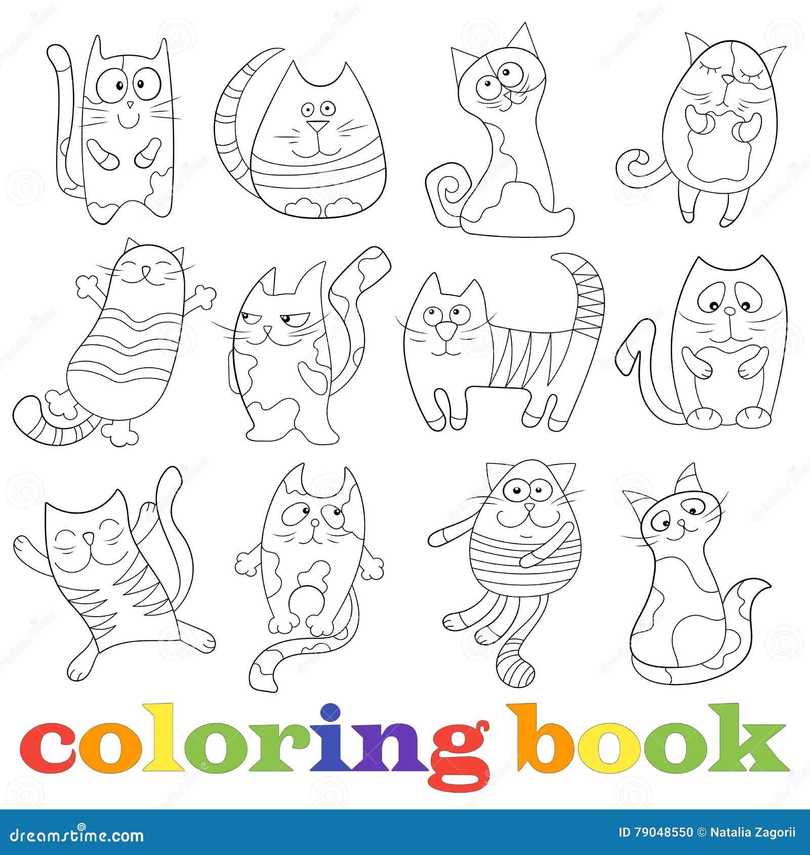 Sistema De Ejemplos Con Los Gatos Divertidos, Libro De Colorear Del ...