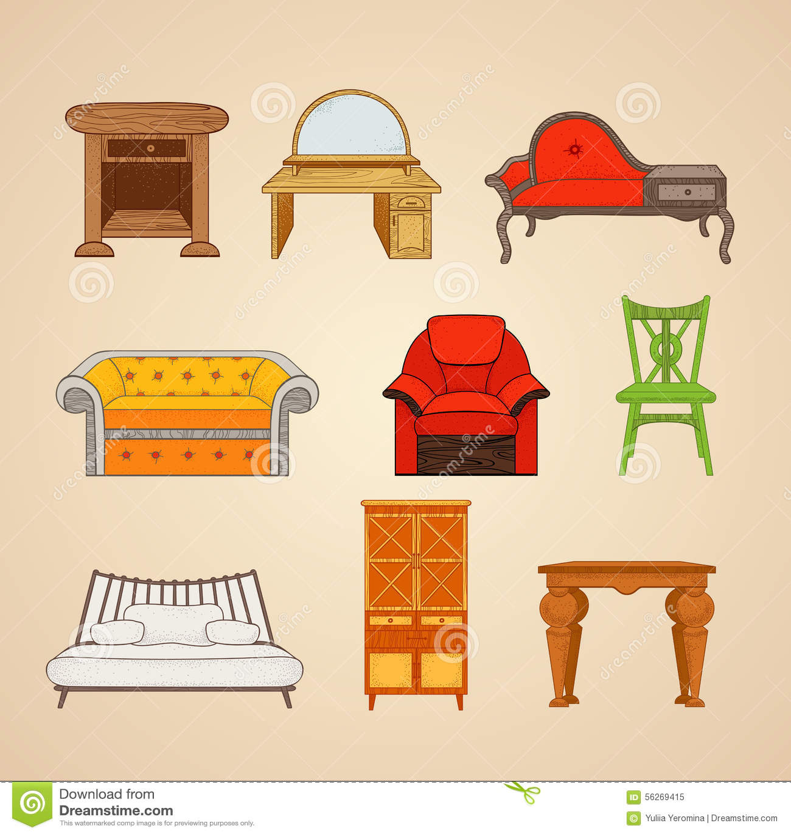 Sistema de ejemplos de art culos para el hogar ilustraci n for Cosas de hogar
