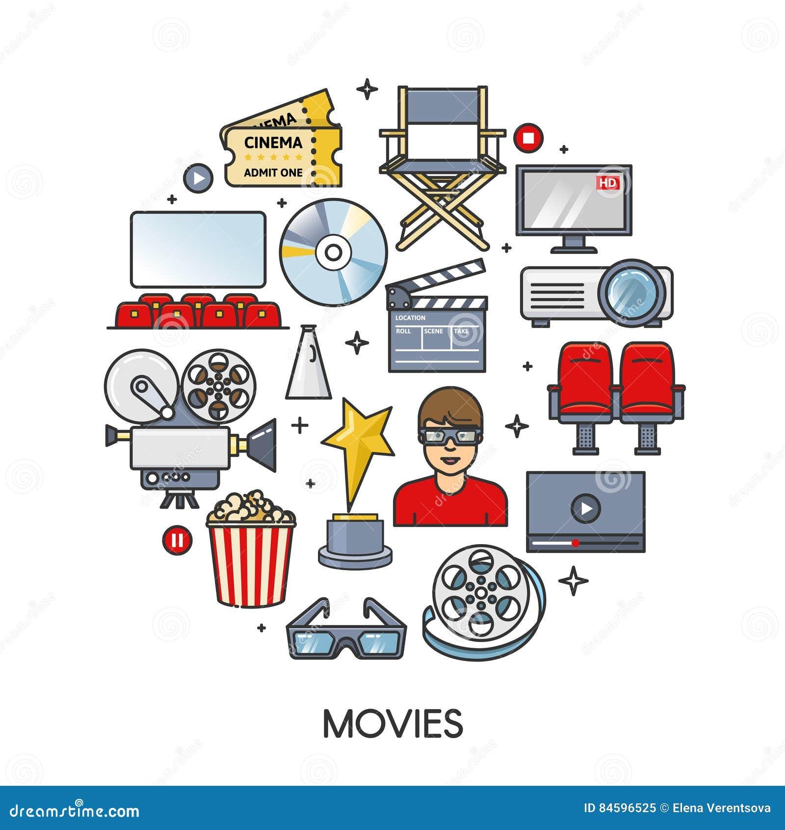 Sistema de elemento de las películas en forma redonda Colección de los iconos del cine Ejemplo aislado plano del vector del esque