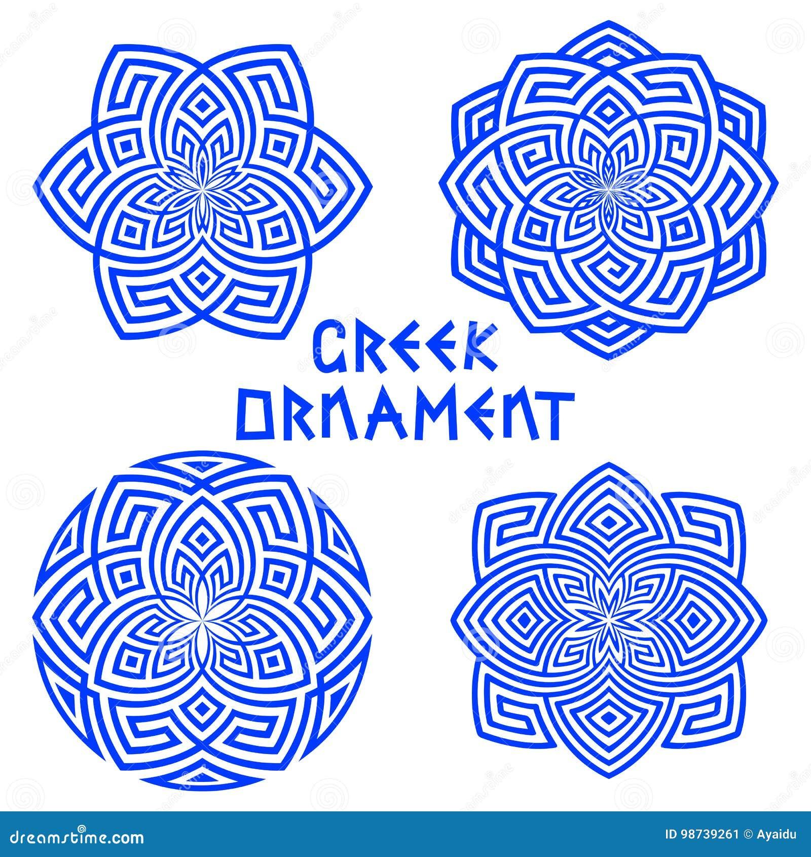 Sistema de elementos azules del diseño con los adornos griegos aislados en el fondo blanco