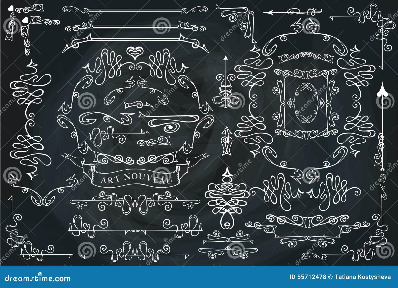 Sistema de elementos caligráfico encrespado del diseño, remolinando