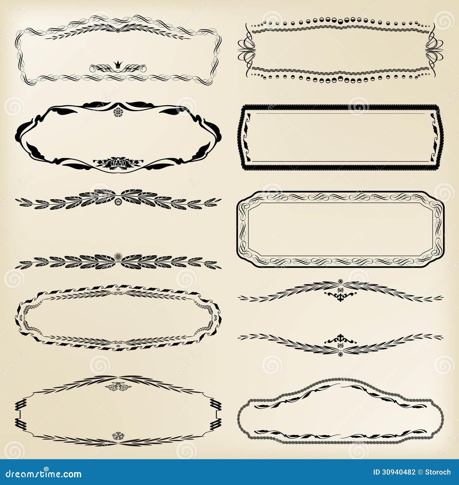 Sistema De Elementos Caligráficos Del Diseño: Marco Del Vintage ...