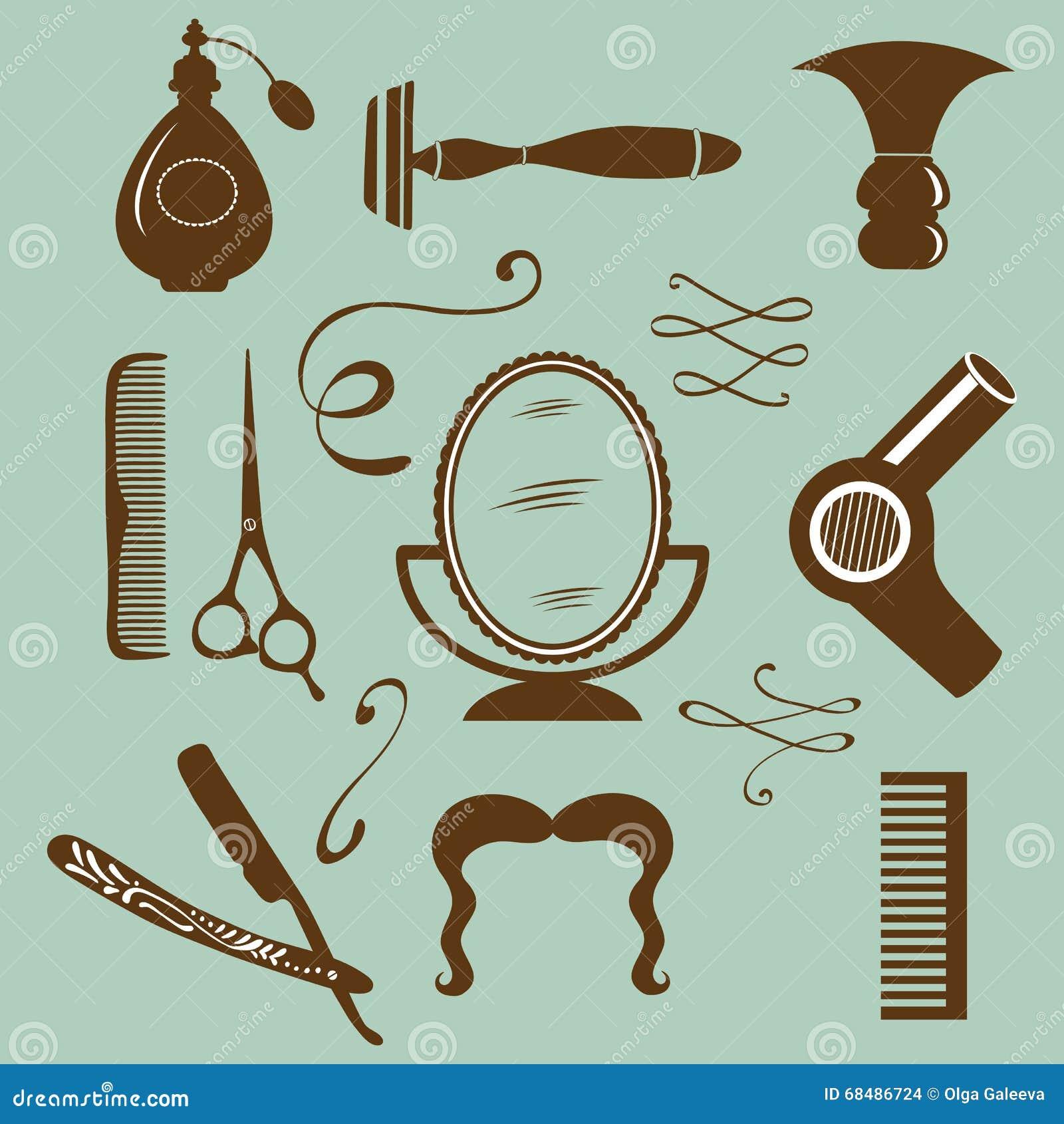 Sistema de elementos de la peluquería de caballeros y del peluquero del vintage