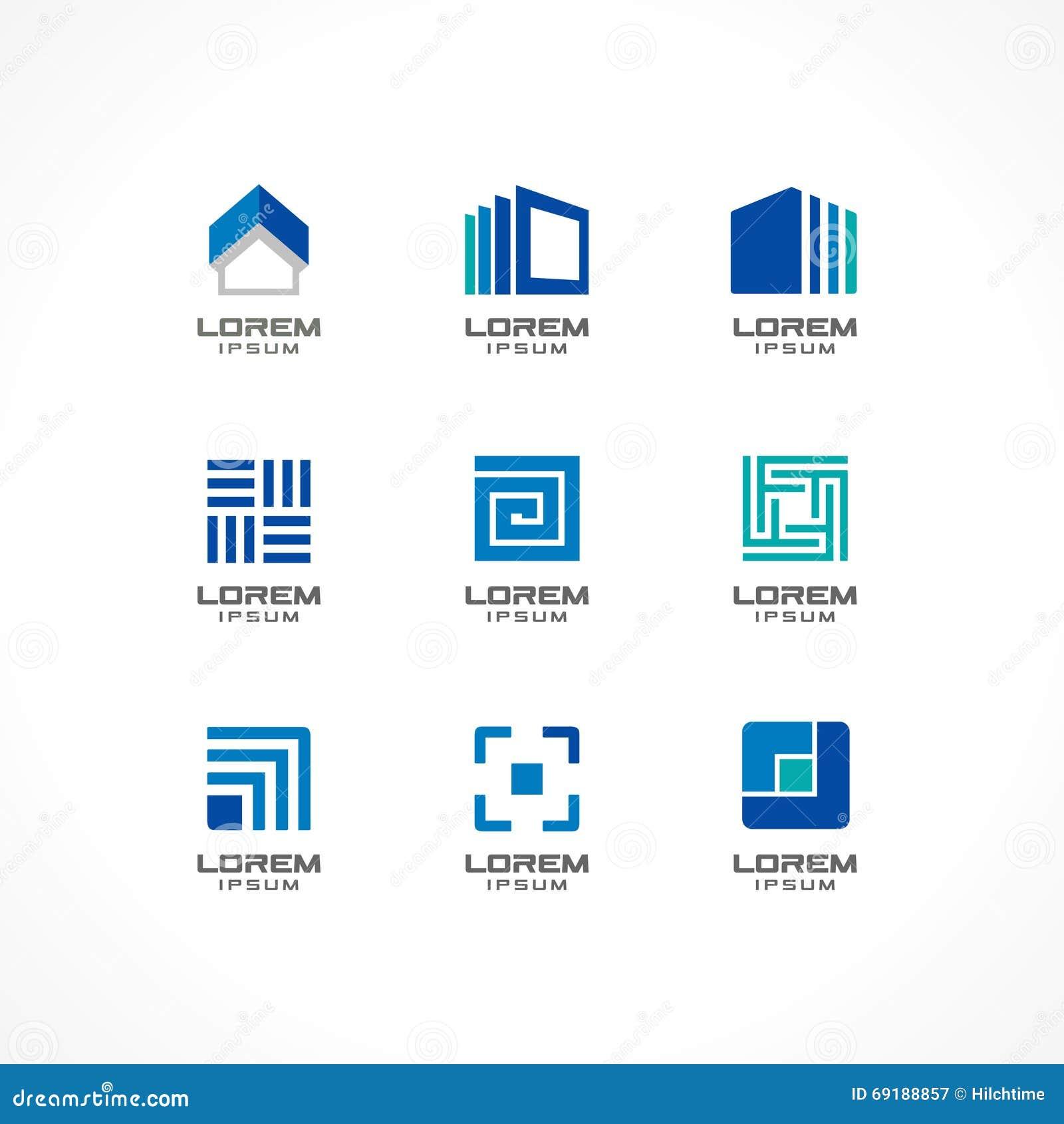 Sistema de elementos del dise o del icono ideas abstractas for Empresas constructoras de casas