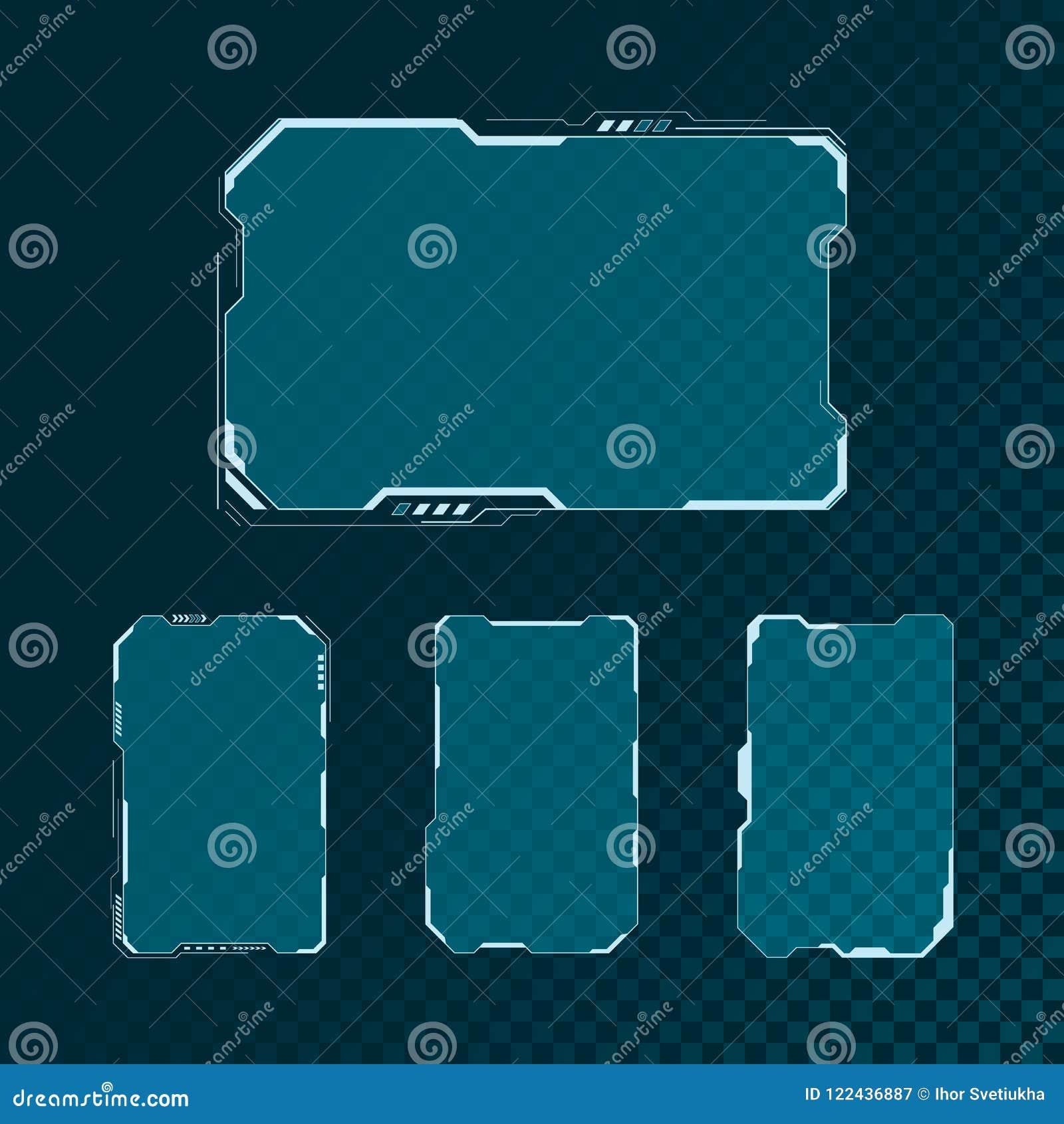 Sistema de elementos futurista de pantalla de la interfaz de usuario de HUD Diseño abstracto de la disposición del panel de contr