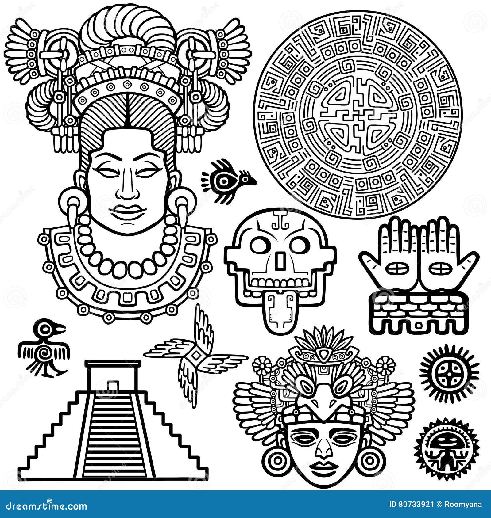 Sistema de elementos gráficos basados en motivos del indio del nativo americano del arte