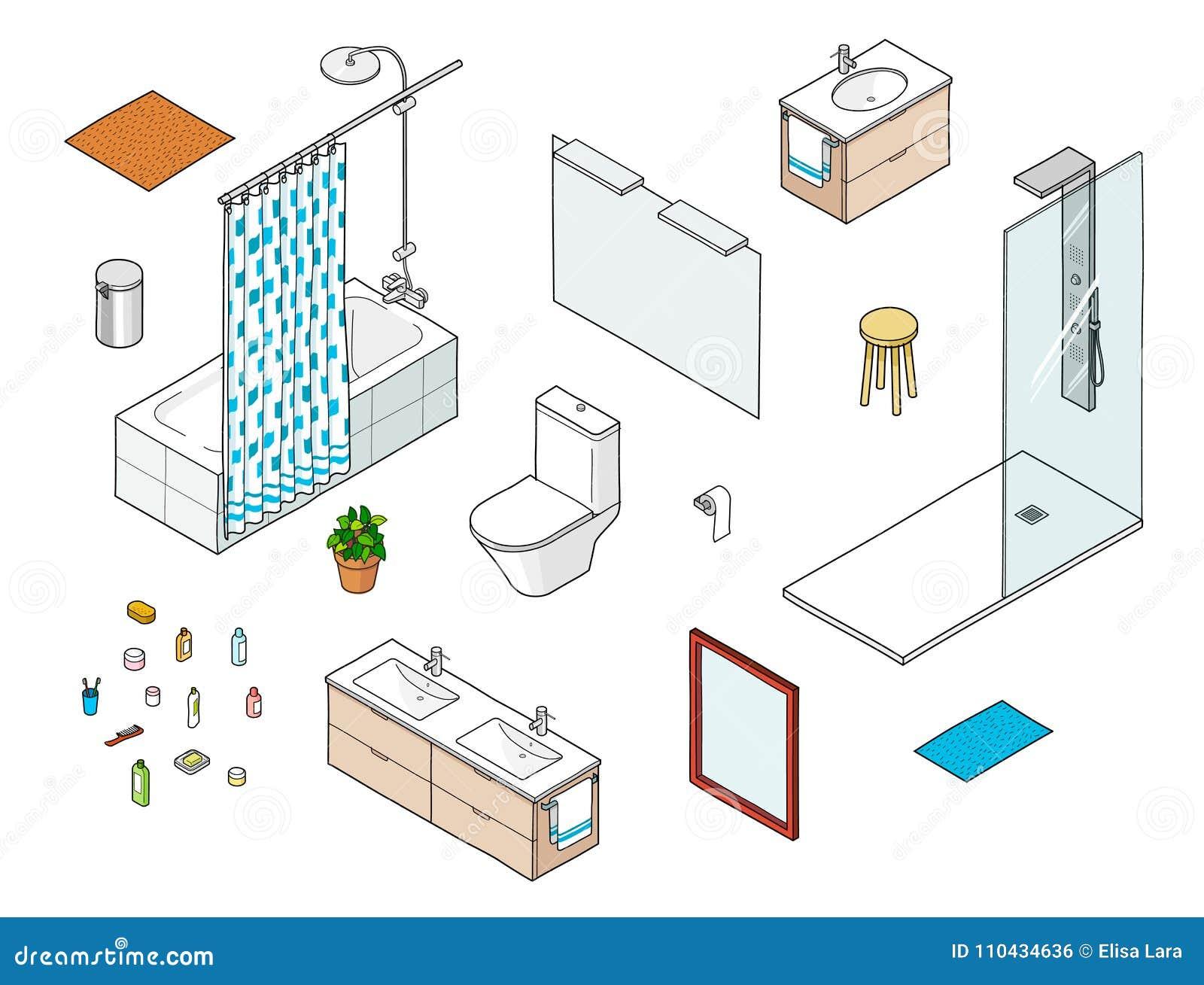 Sistema de elementos isométricos del cuarto de baño incluyendo la ducha, bathtube, espejo, lavabo