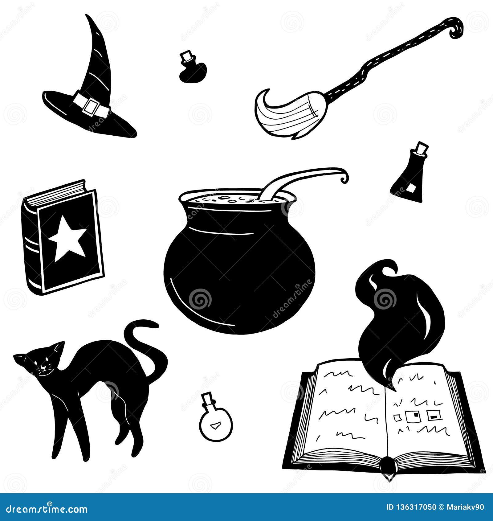 Sistema de elementos mágico del diseño de la bruja del vector Mano dibujada, garabato, colección del mago del bosquejo Símbolos d