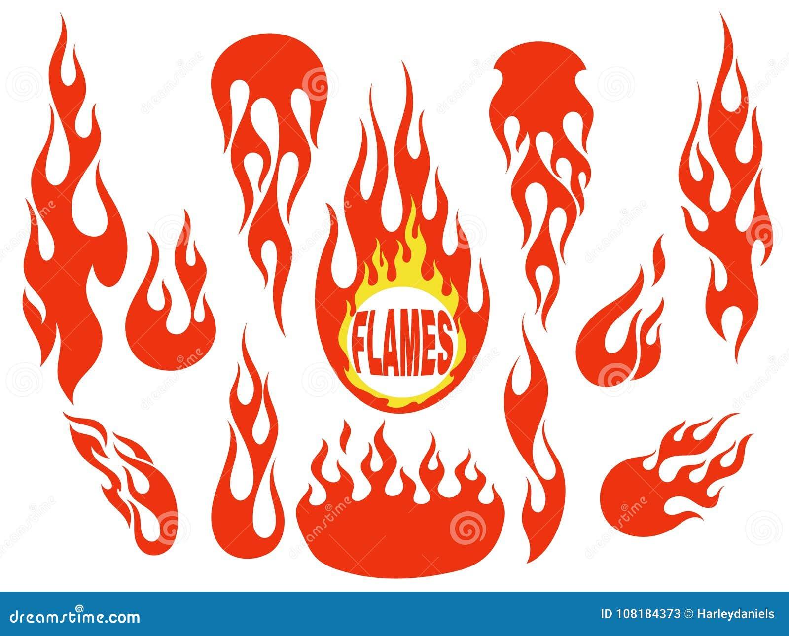 Sistema de elementos rojo de la llama