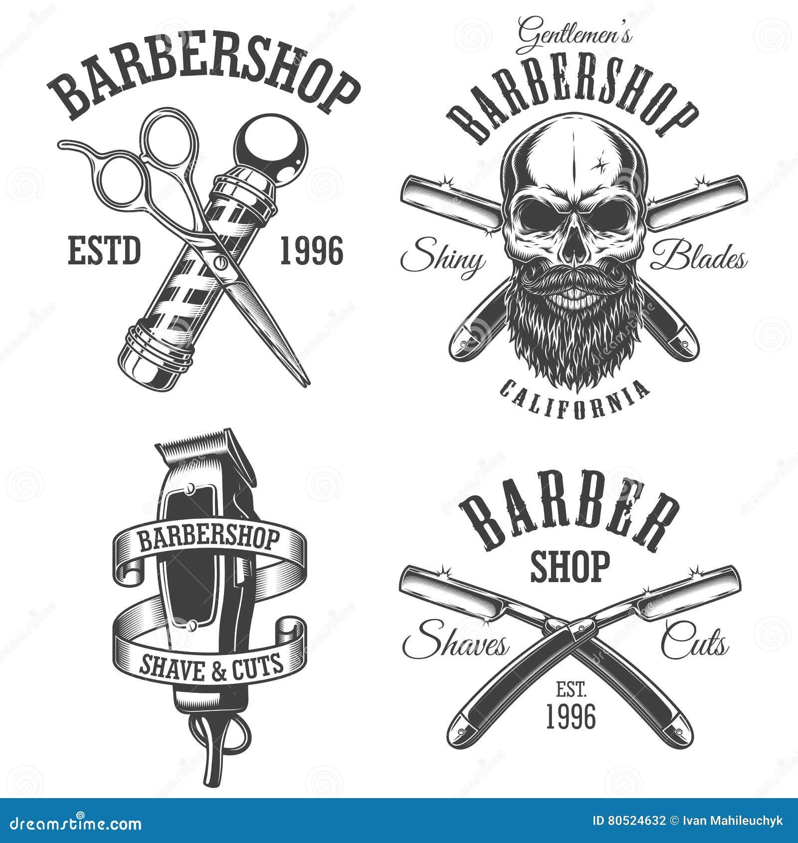 Sistema de emblemas de la barbería del vintage