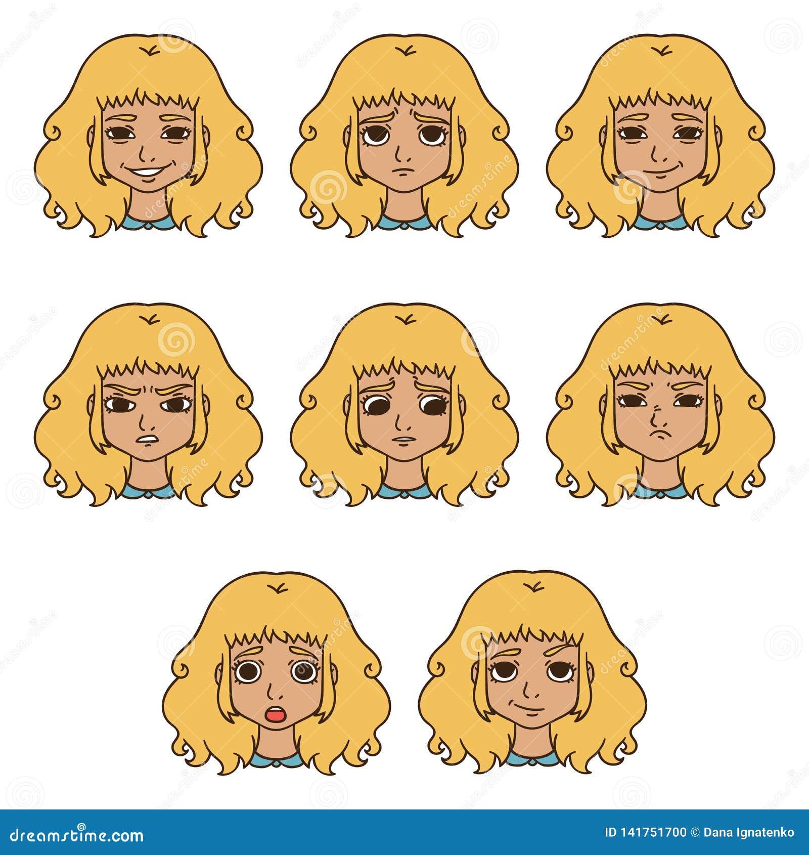 Sistema de emociones del ` s de la mujer Expresión facial