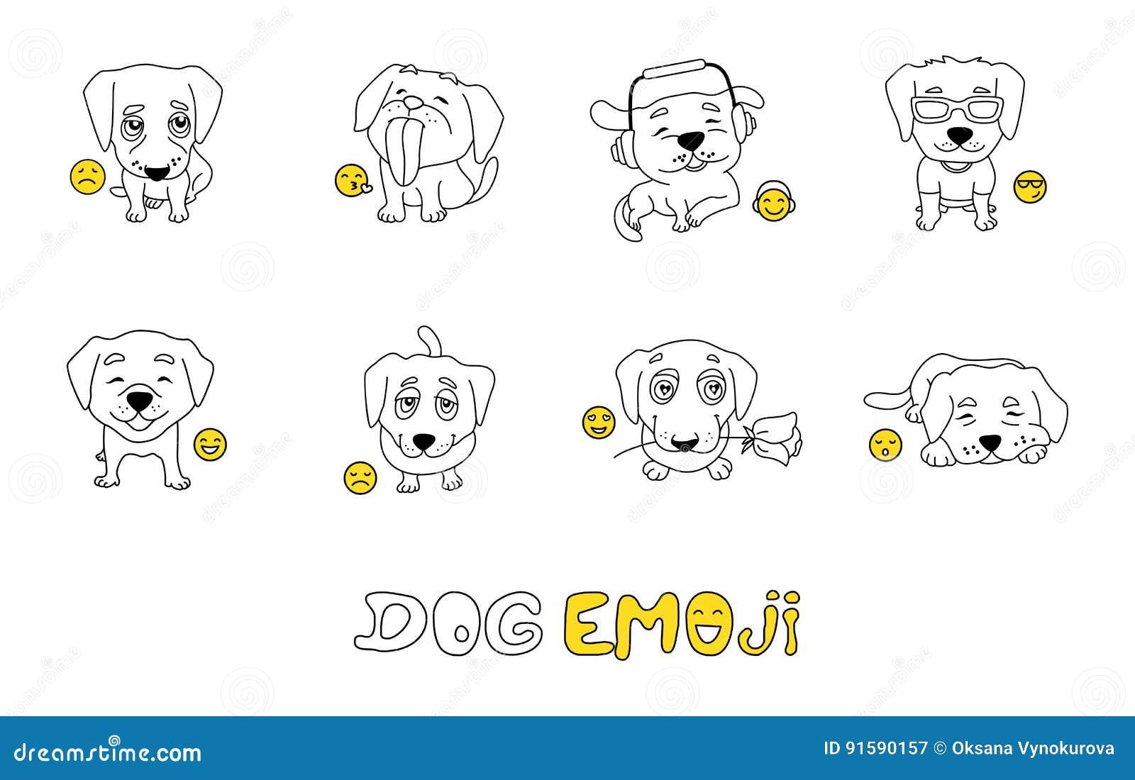 Sistema De Emojis Con El Perro Lindo Para Colorear Ilustración Del