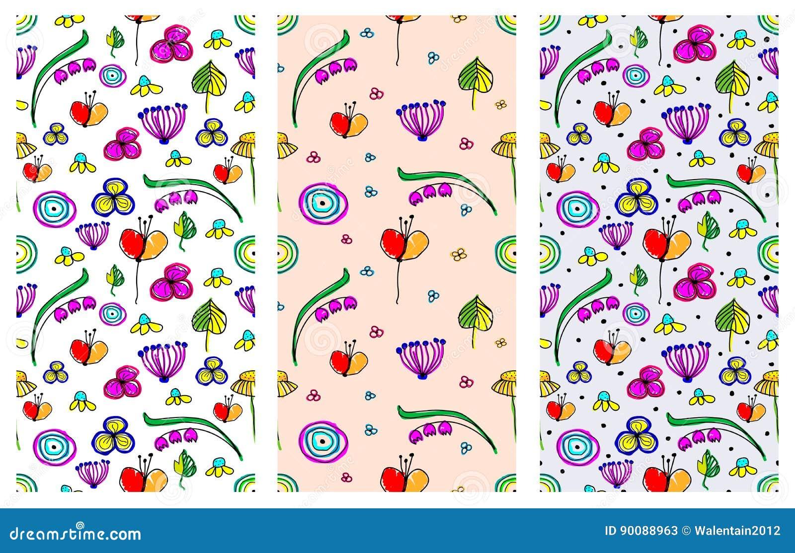 Sistema De Estampados De Flores Infantiles Del Vector Inconsutil