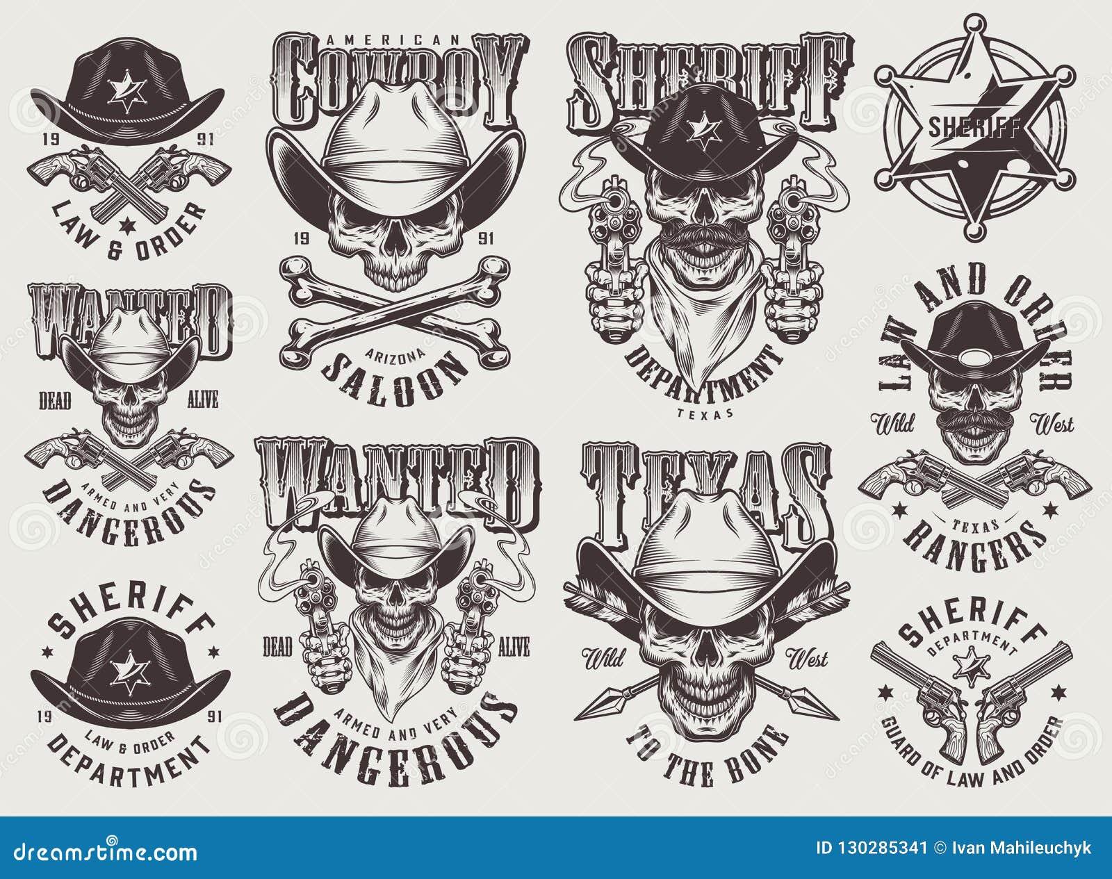Sistema de etiquetas del oeste salvaje monocromático del vintage