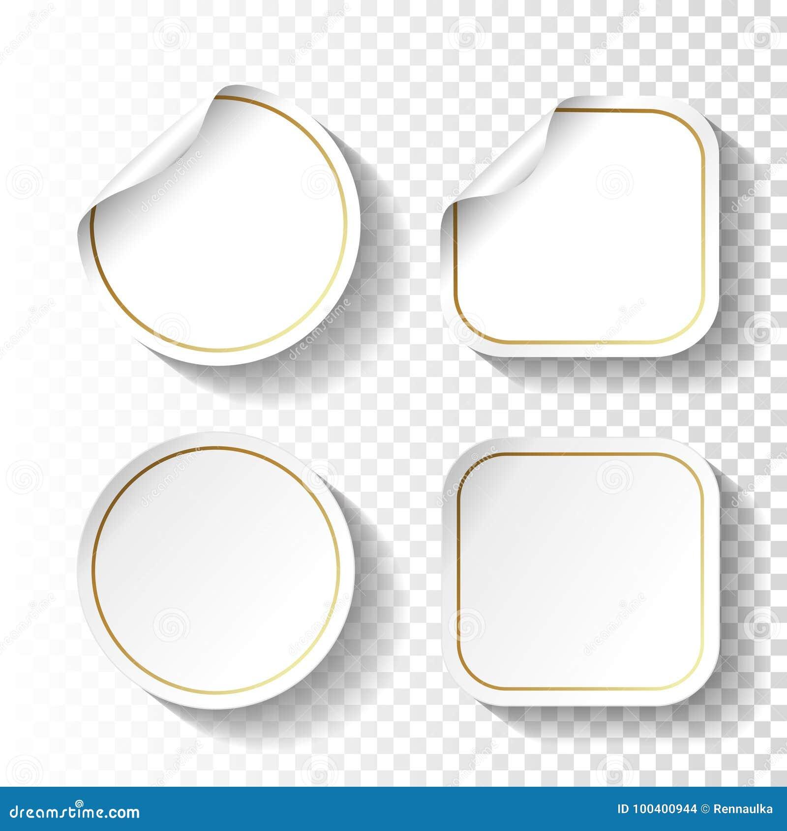 Sistema de etiquetas engomadas del Libro Blanco en fondo transparente Etiquetas del círculo y del cuadrado, botones