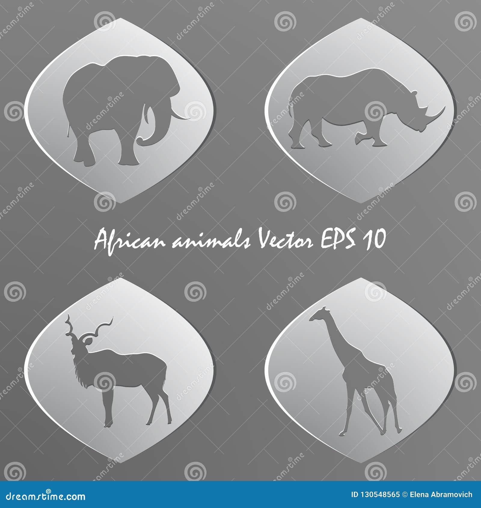 Sistema de etiquetas engomadas del Libro Blanco Siluetas de animales africanos