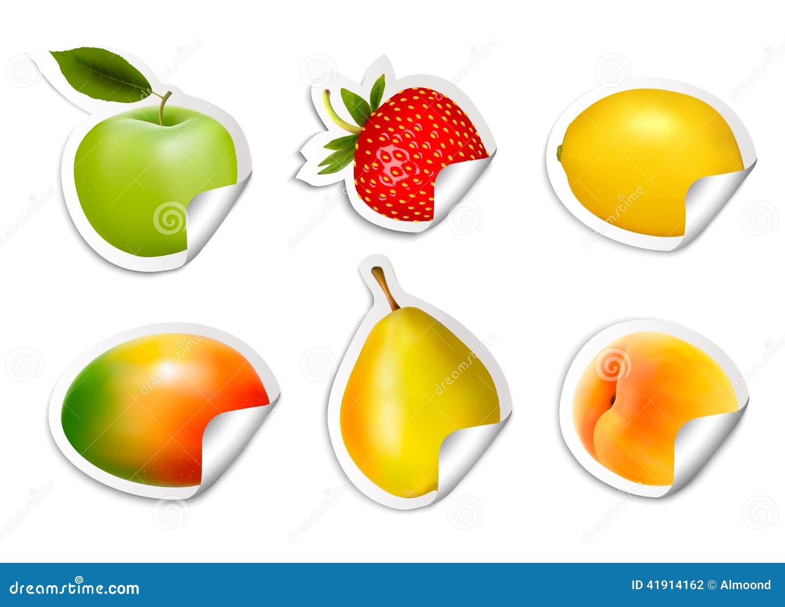Sistema de etiquetas engomadas planas de la fruta