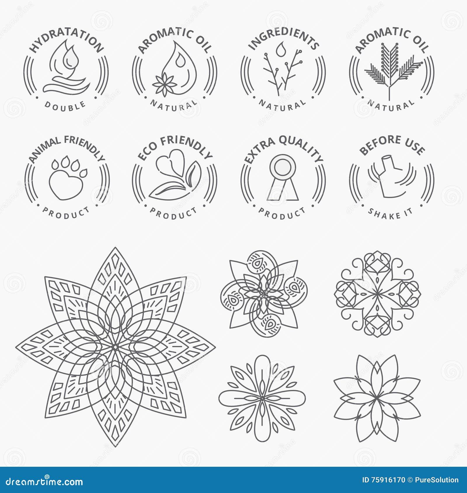 Sistema de etiquetas engomadas y de elementos para los productos naturales, la belleza y los cosméticos