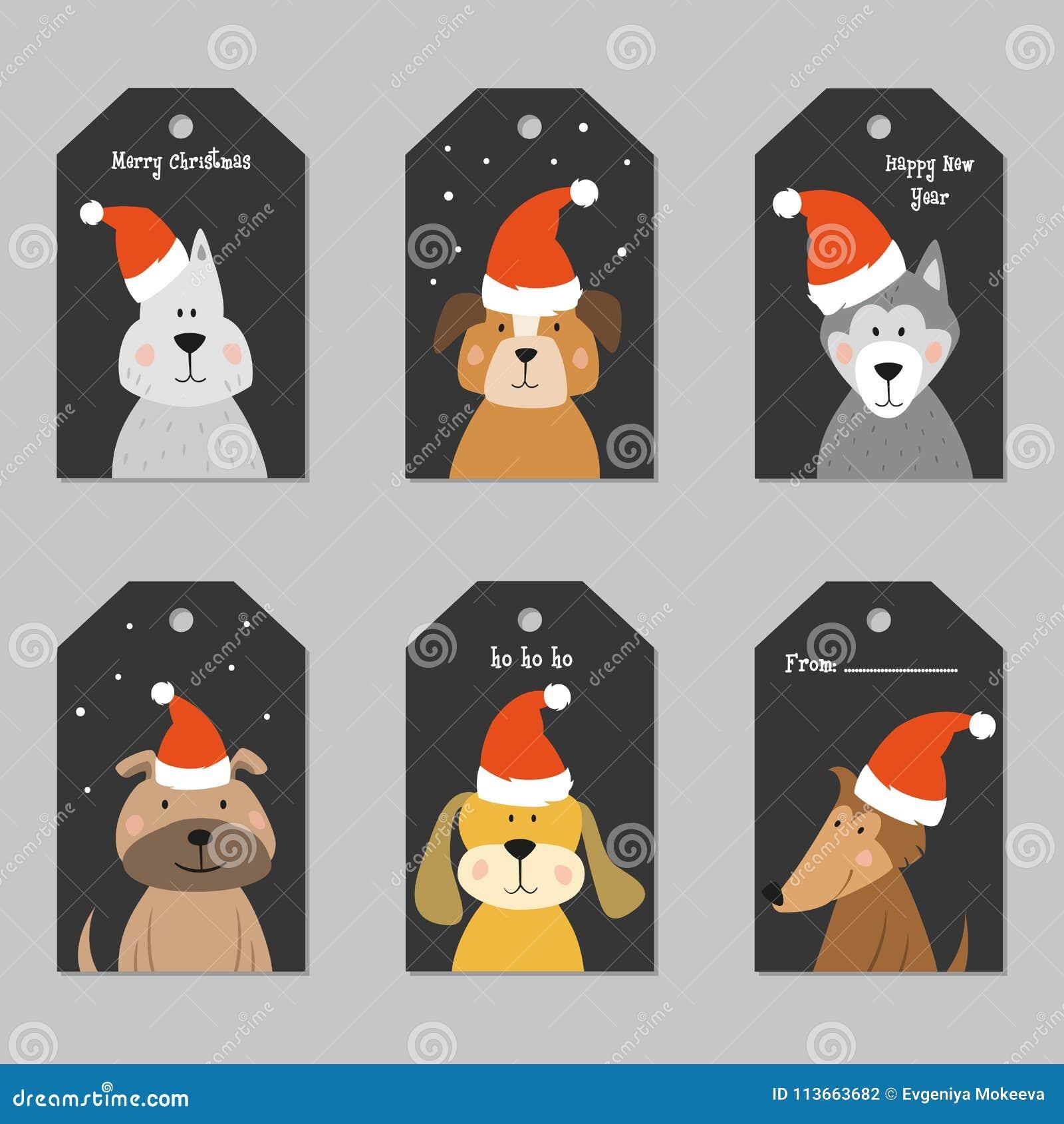 Sistema de etiquetas de la Navidad con los perros de la historieta